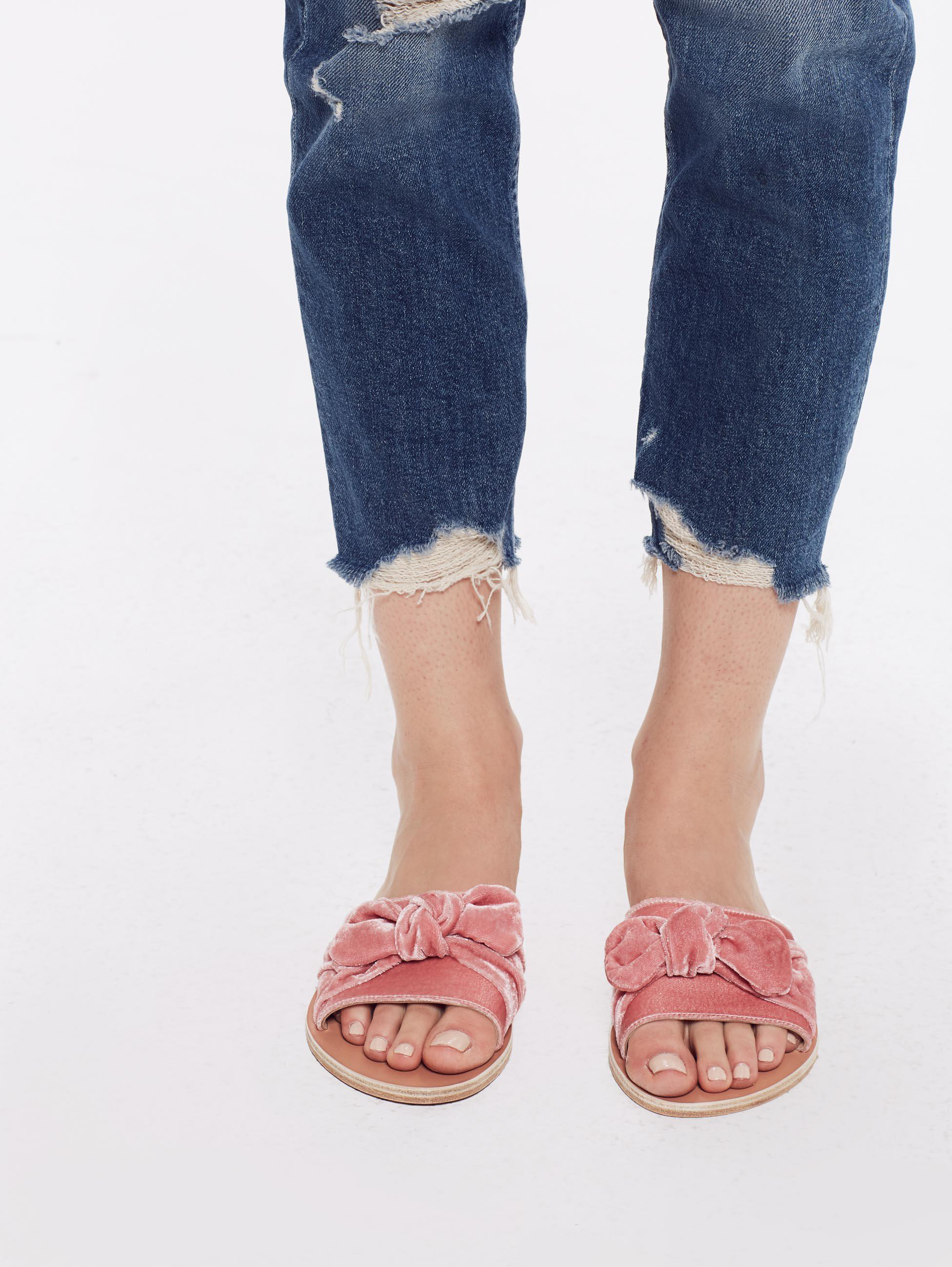 d01e3b25228c2 Ancient Greek Sandals Taygete Bow Velvet Dusty Pink in Pink - Lyst