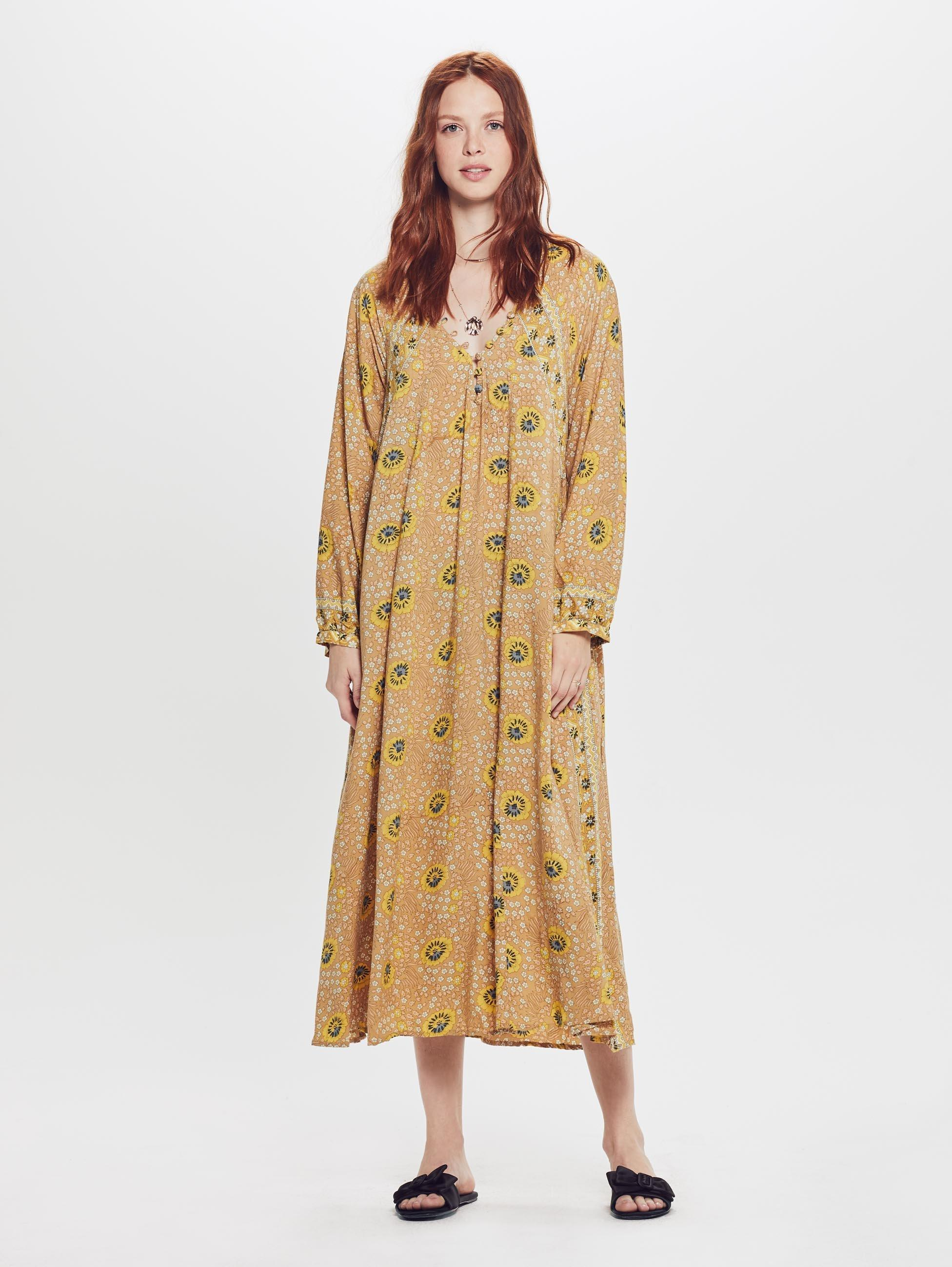 5e2a0c6c407 Natalie Martin Fiore Maxi Rayon Dress Vintage Flowers Gold in ...