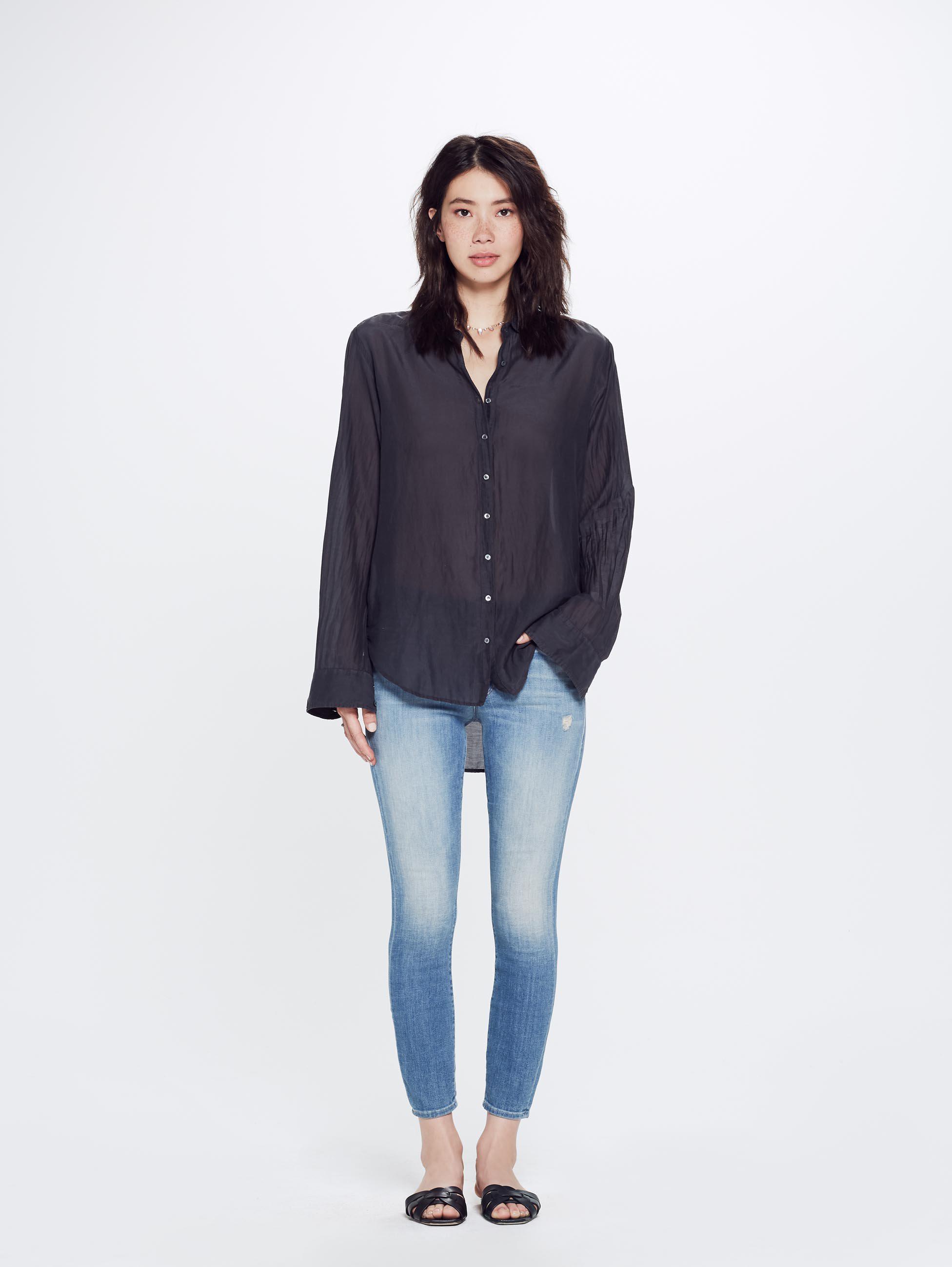 fd02664622cad Xirena Beau Gypset Calliope Silk Cotton Shirt Stormy Gray