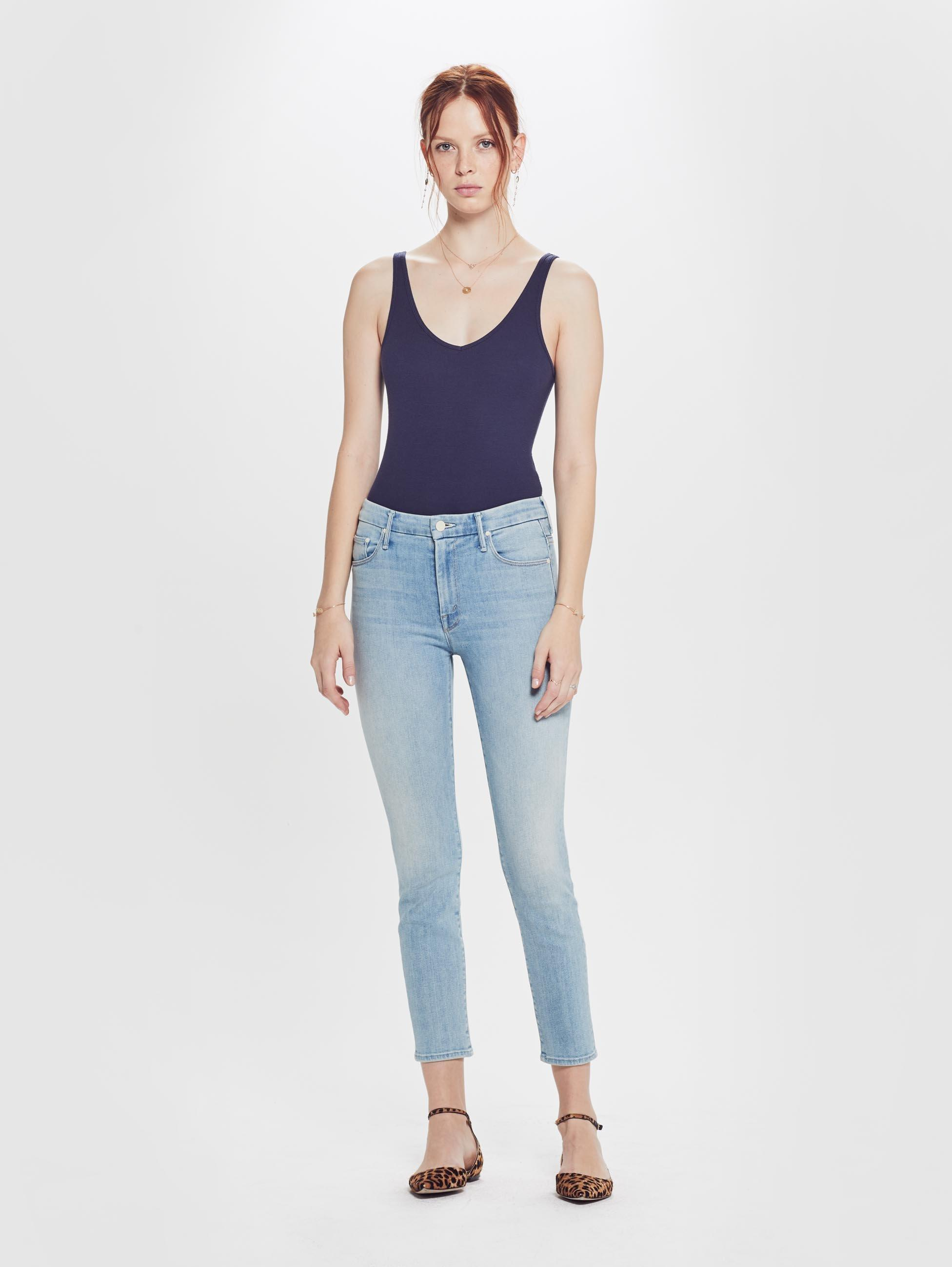 a65817c2c544 Mother Denim The High Waisted Looker Crop Swimming Pool Sunday in Blue -  Lyst
