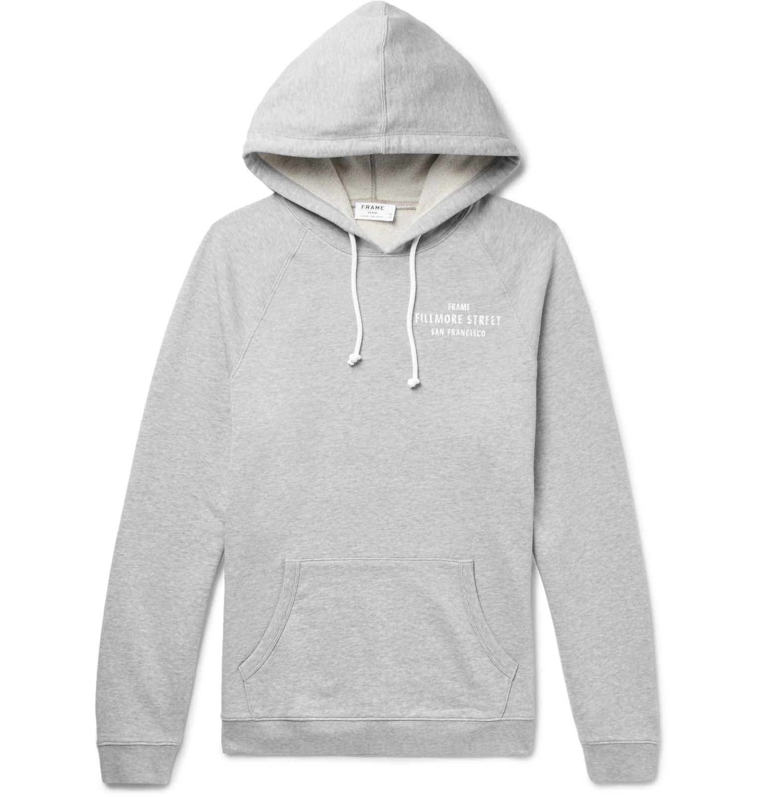 Frame Printed Mélange Loopback Cotton-jersey Hoodie - Gray CUkfVOeY