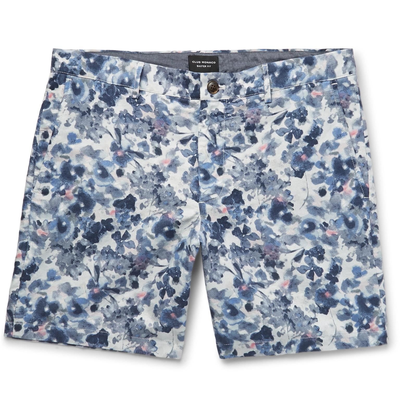 Baxter Slim-fit Printed Linen And Cotton-blend Twill Shorts Club Monaco ohlVkH
