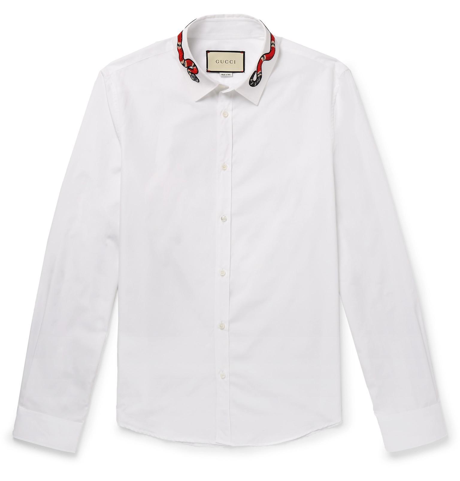 b652f379d Gucci - White Duke Appliquéd Cotton Oxford Shirt for Men - Lyst. View  fullscreen