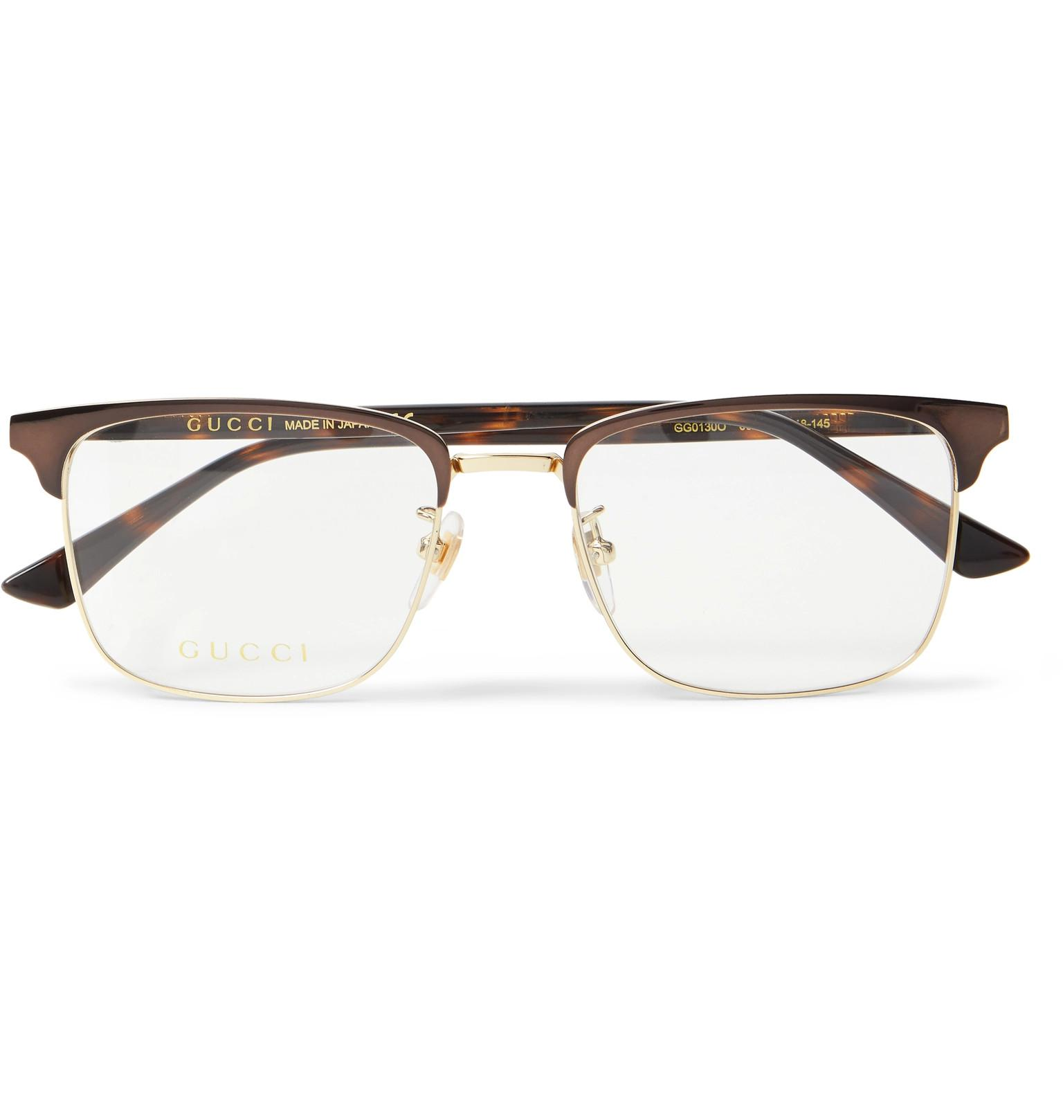 341452c2a2 Gucci. Men s Brown Square-frame Tortoiseshell Acetate And Gold-tone Optical  Glasses