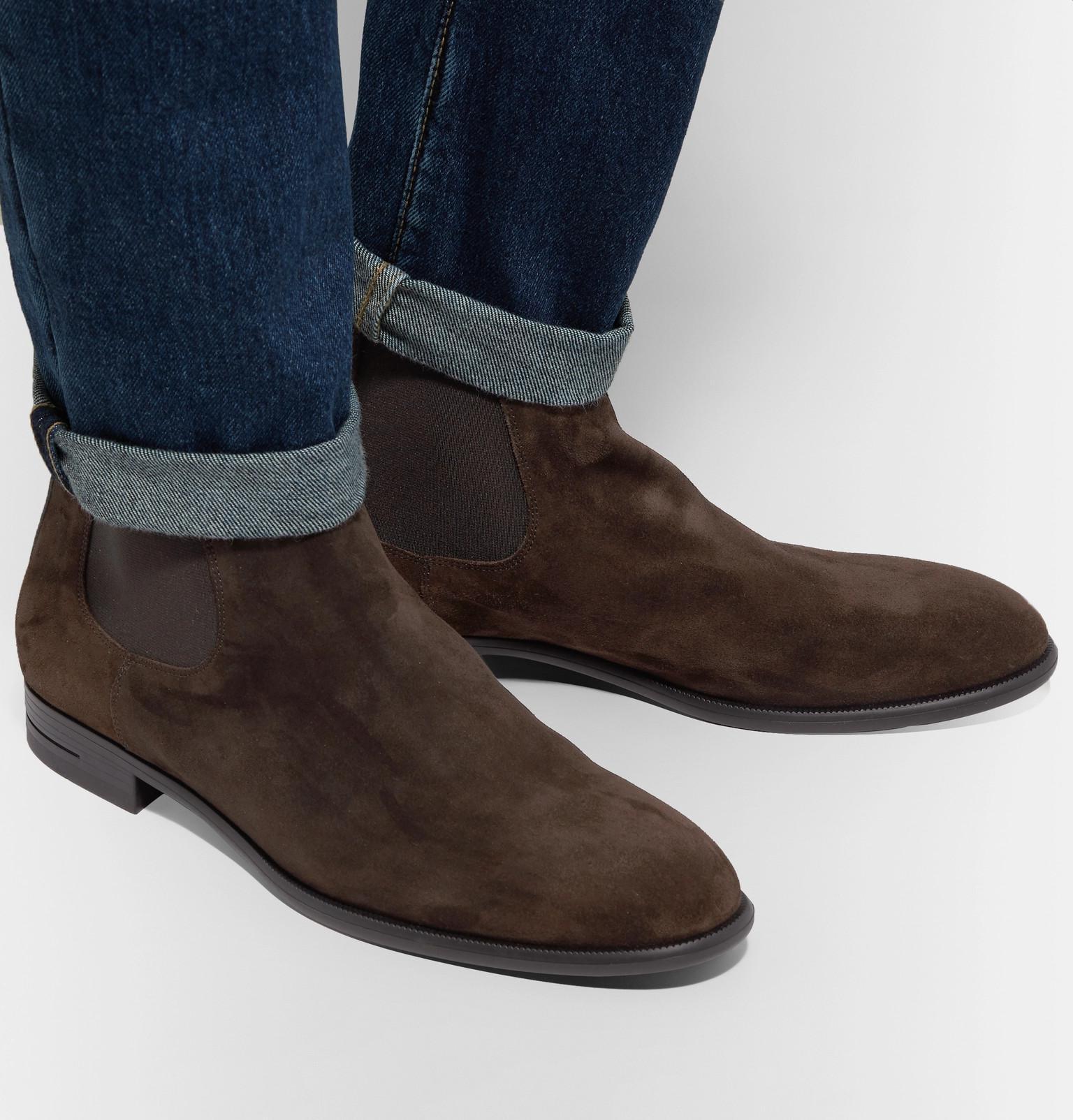 654cb839 Ermenegildo Zegna Brown Suede Chelsea Boots for men