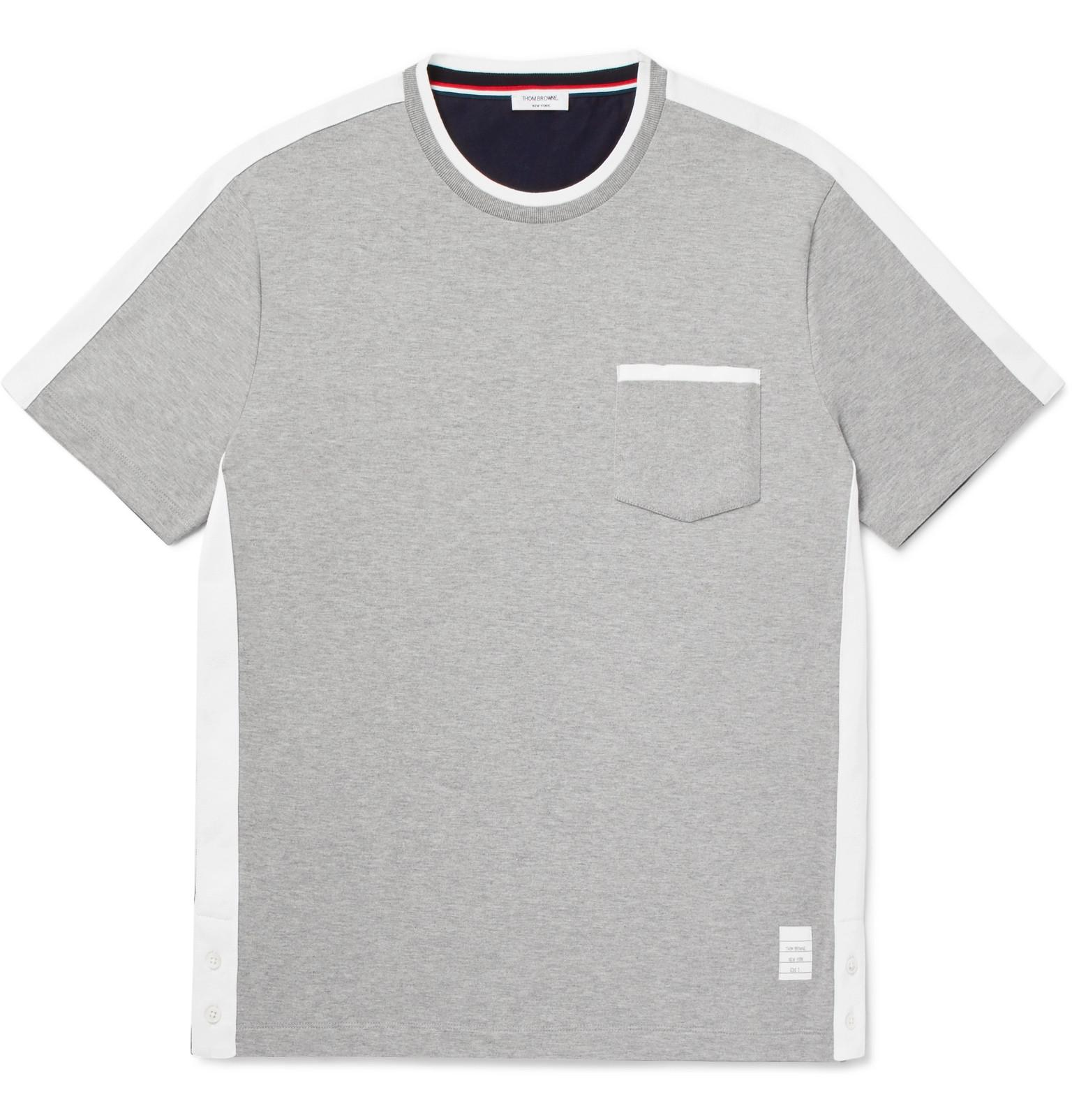 081e9464613 Thom Browne Colour-block Webbing-trimmed Cotton-jersey T-shirt in ...
