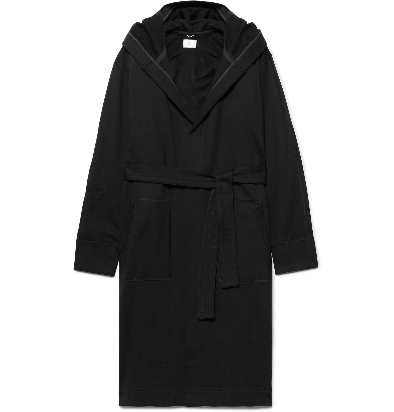 Lyst - Reigning Champ Loopback Cotton-jersey Hooded Robe in Black ...