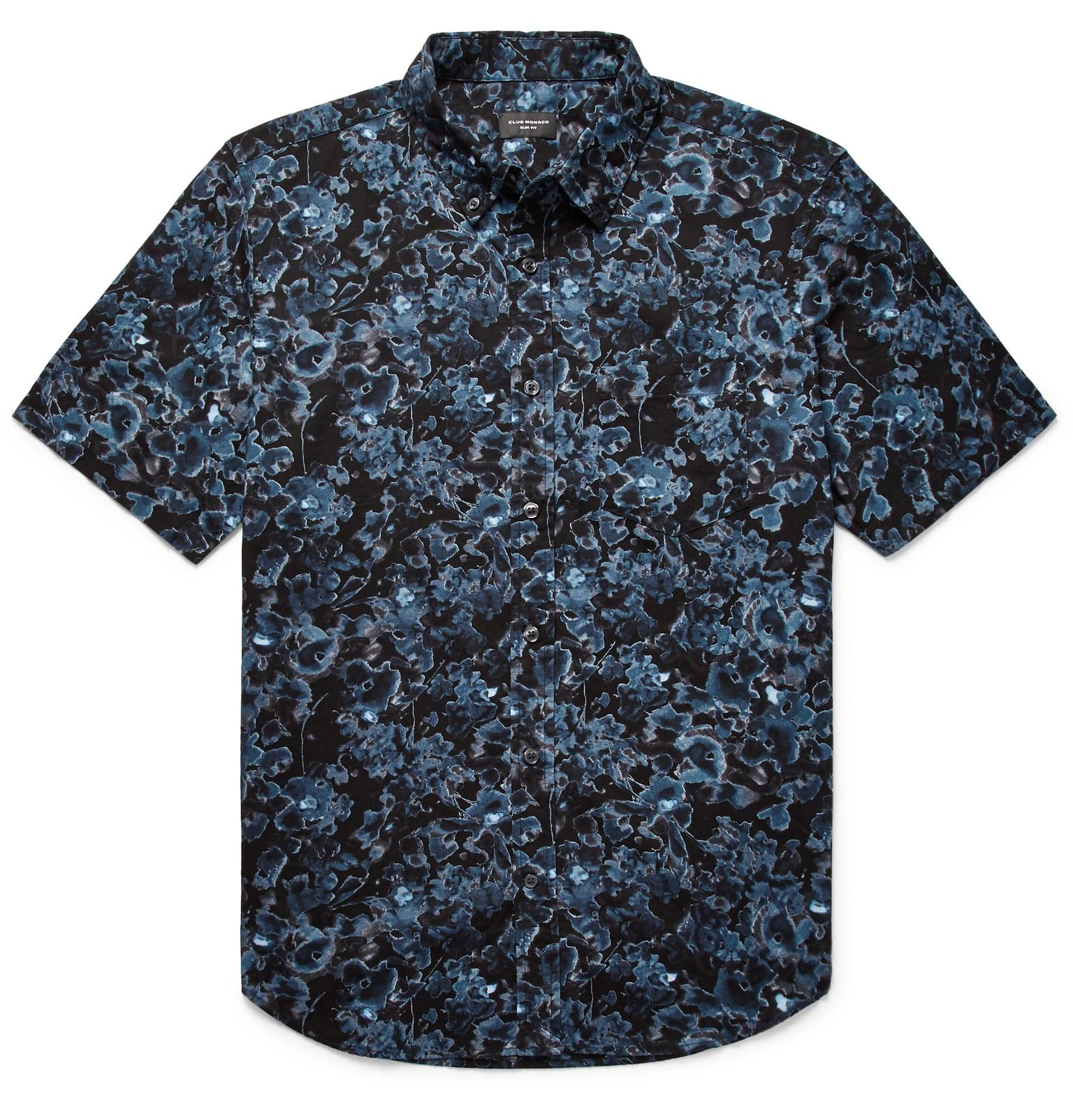 06c66167a97 Club Monaco Slim-fit Button-down Collar Floral-print Cotton Shirt in ...