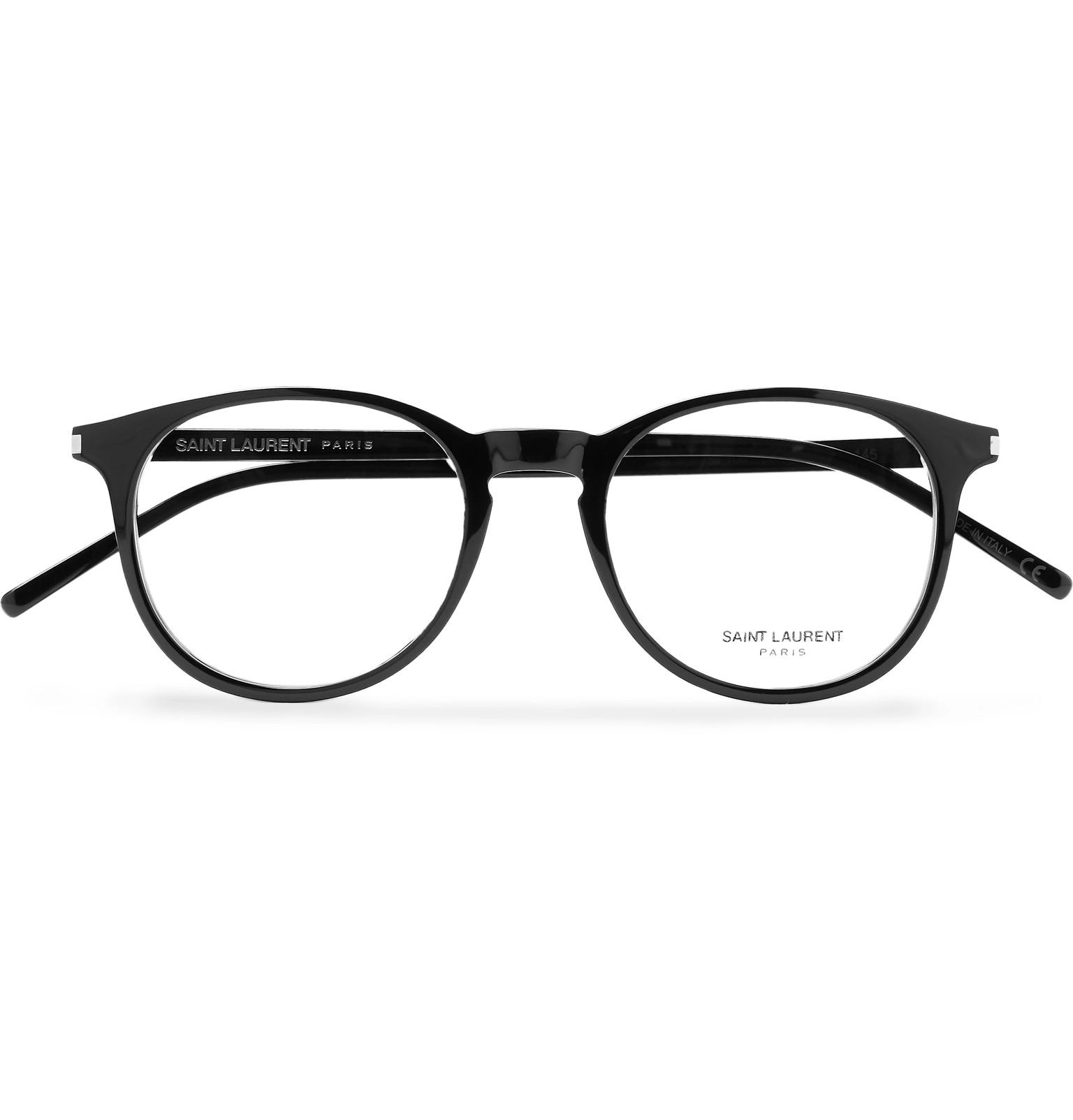 c37411e55a5f Saint Laurent - Black Round-frame Acetate Optical Glasses for Men - Lyst.  View fullscreen