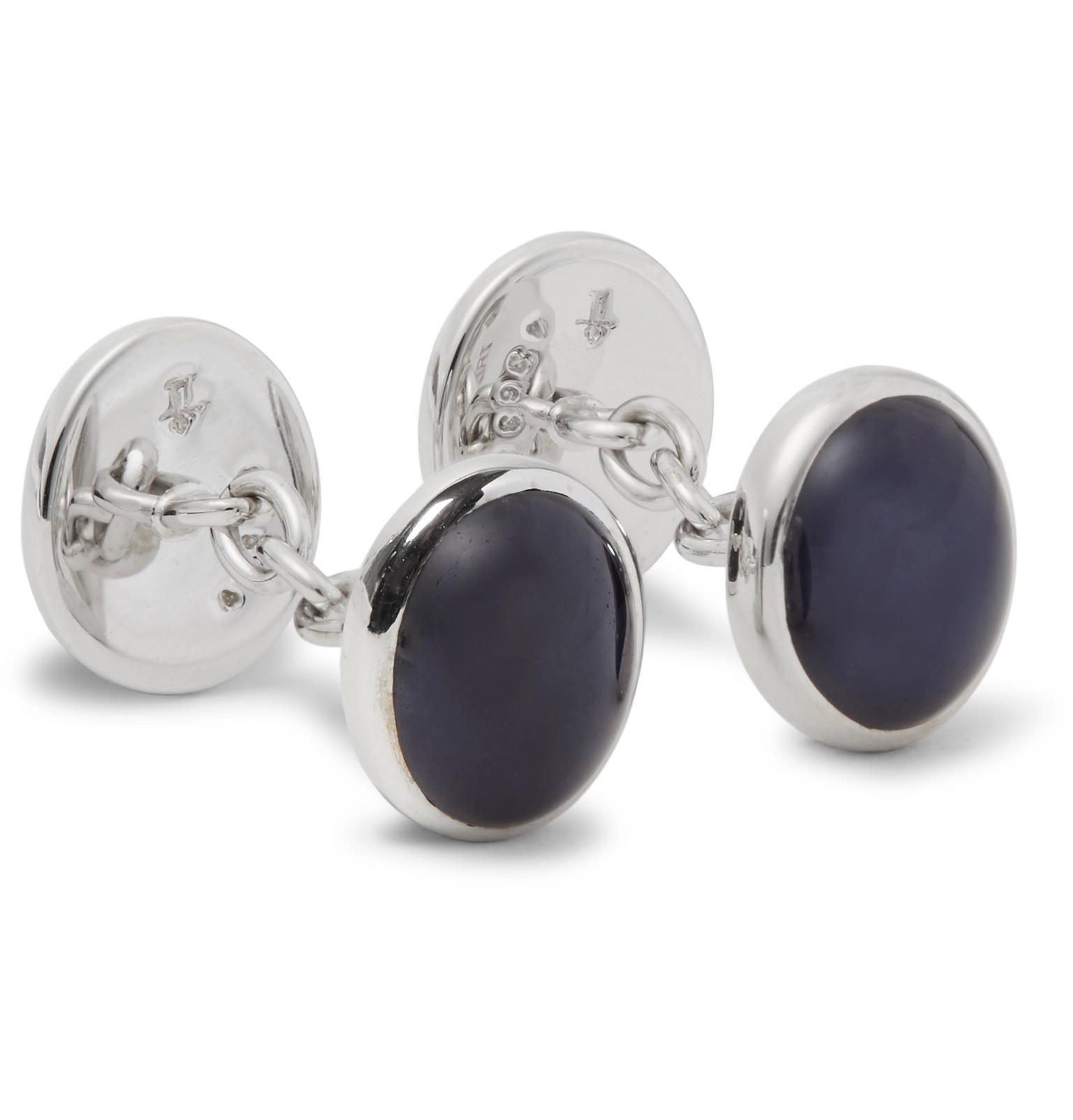 Trianon Carved Crystal, 18-karat White Gold And Pearl Cufflinks - Silver