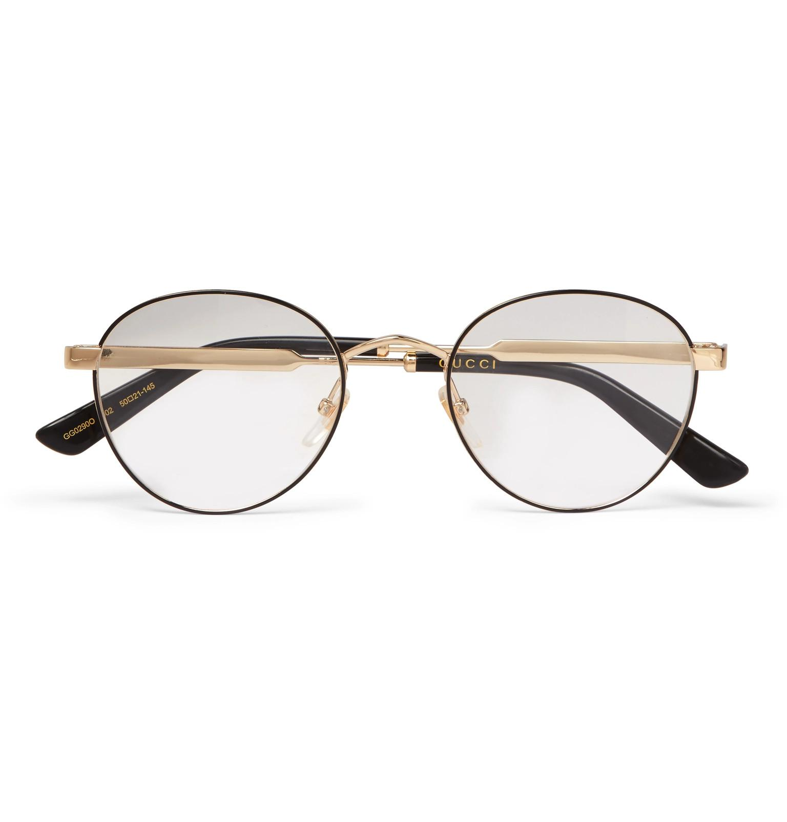 7348ef0eddfbd Gucci Round-frame Enamelled Gold-tone Optical Glasses in Brown for ...