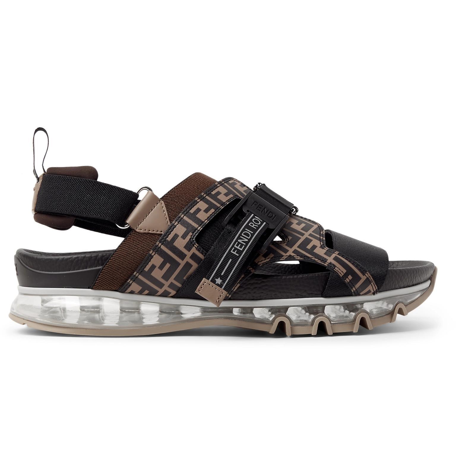 c1638fdf1 Fendi - Brown Logo-print Leather And Webbing Sandals for Men - Lyst. View  fullscreen