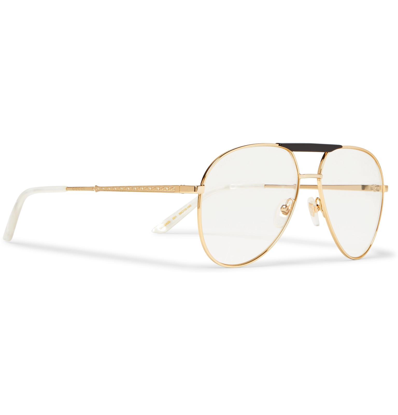 57b567296173 Gucci Endura Aviator-style Acetate And Gold-tone Optical Glasses in ...