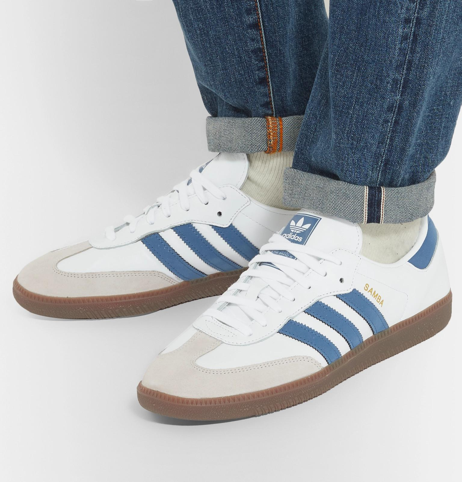Samba White Og Leather Originals In Suede Adidas Trimmed Sneakers 7Pgq5x8nwE