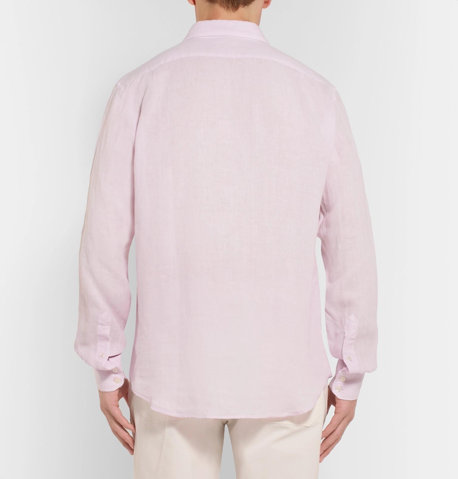 Hartford Paul Slub Linen Shirt in Lilac (Purple) for Men