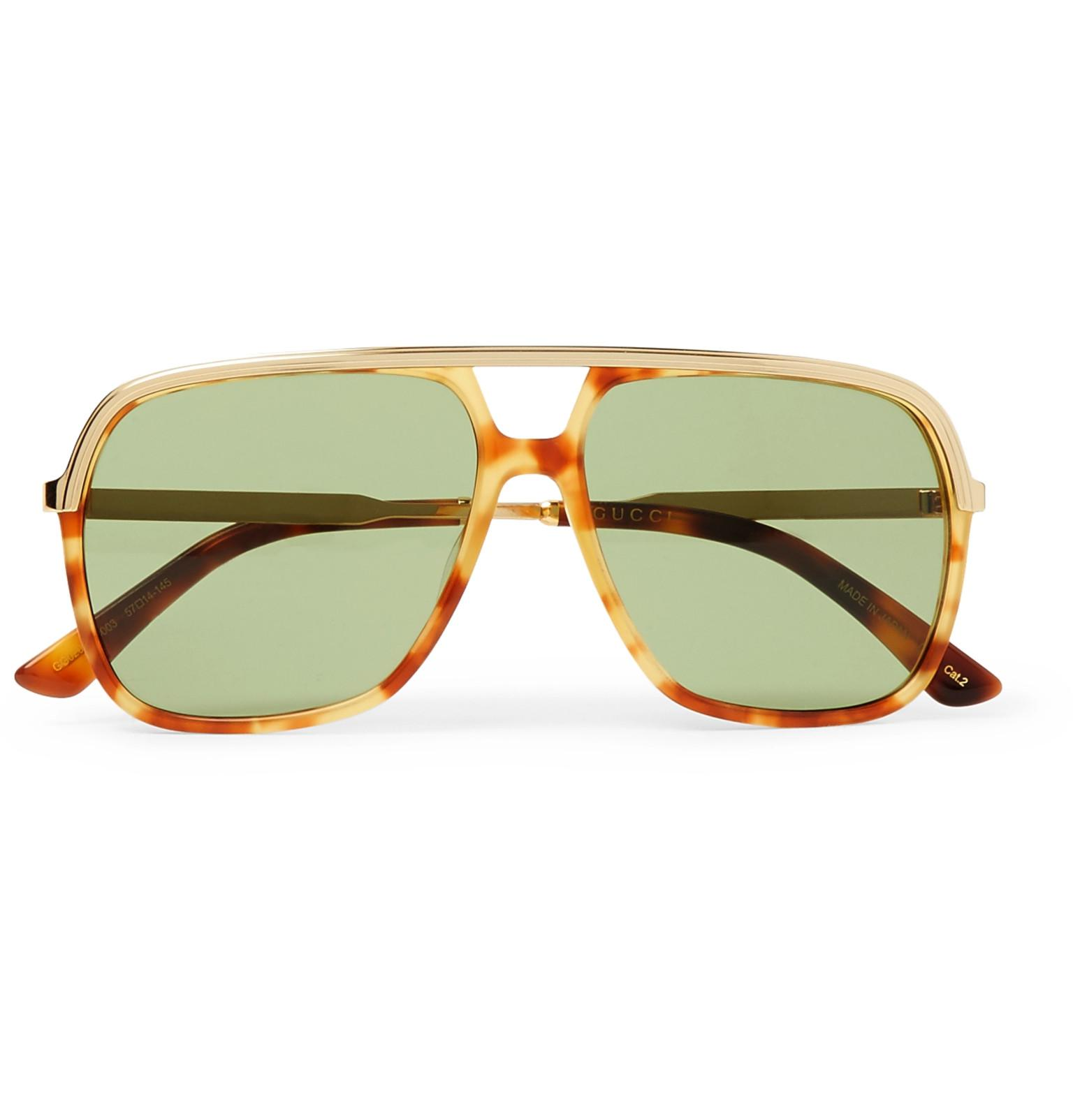 3dd514374a55 Gucci Aviator-style Tortoiseshell Acetate And Gold-tone Sunglasses ...