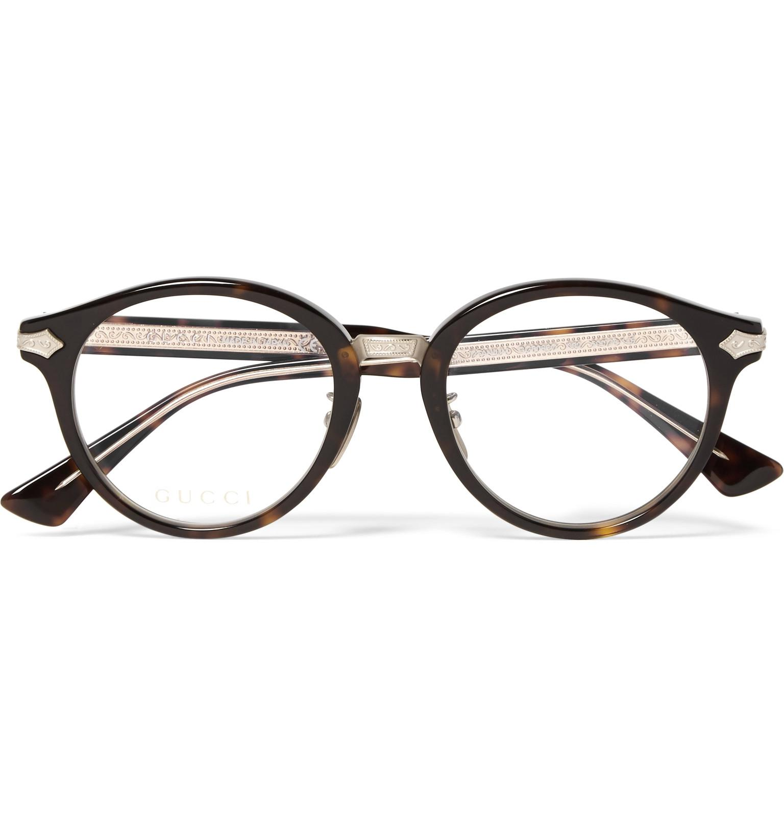 14a3035df3 Gucci Round-frame Tortoiseshell Acetate And Gold-tone Optical ...