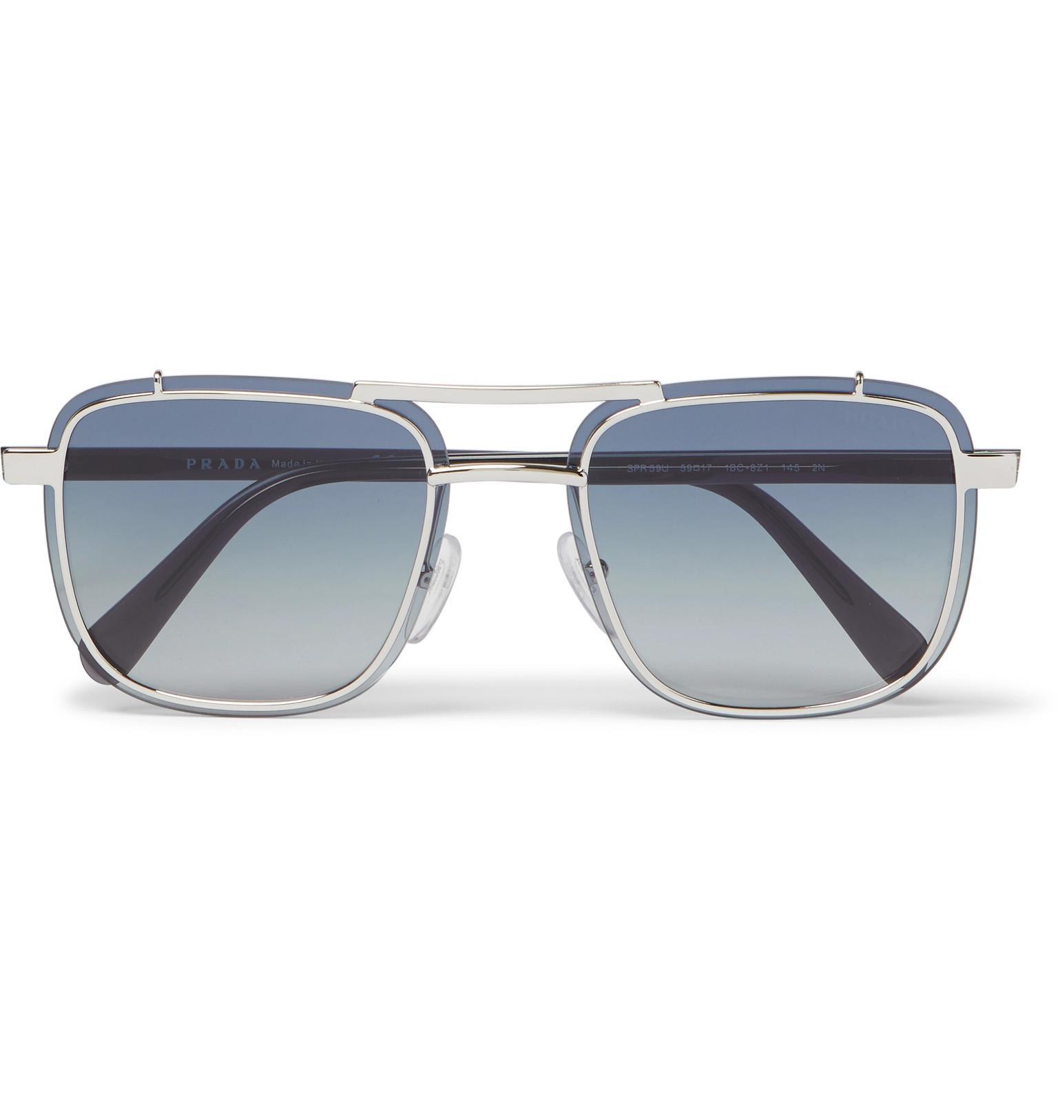 76fb1c43182 Prada Square-frame Silver-tone And Acetate Sunglasses in Metallic ...