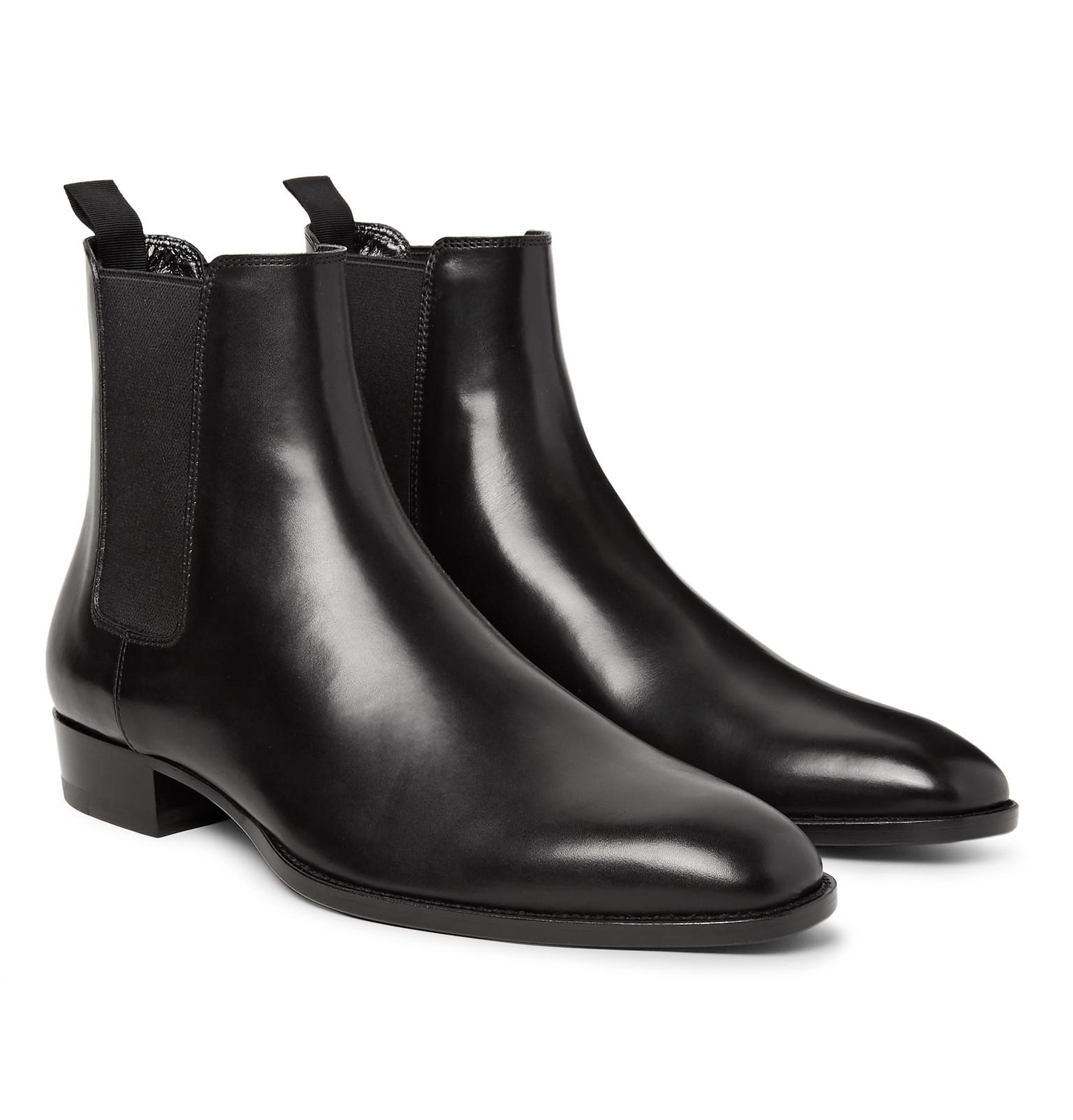 5c5f38b20900 Lyst - Saint Laurent Polished-leather Chelsea Boots in Black for Men ...