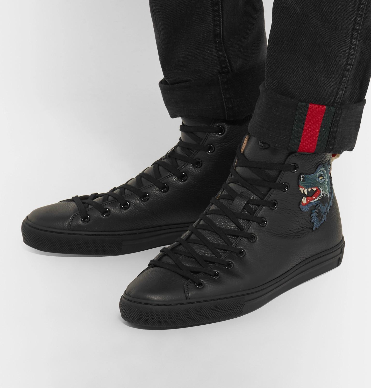 Full-grain Leather High-top Sneakers