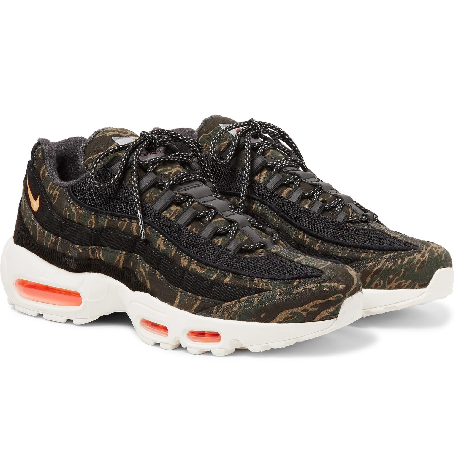 super popular 9ec4d d59e7 Nike Black + Carhartt Wip Air Max 95 Camouflage-print Ripstop Sneakers for  men