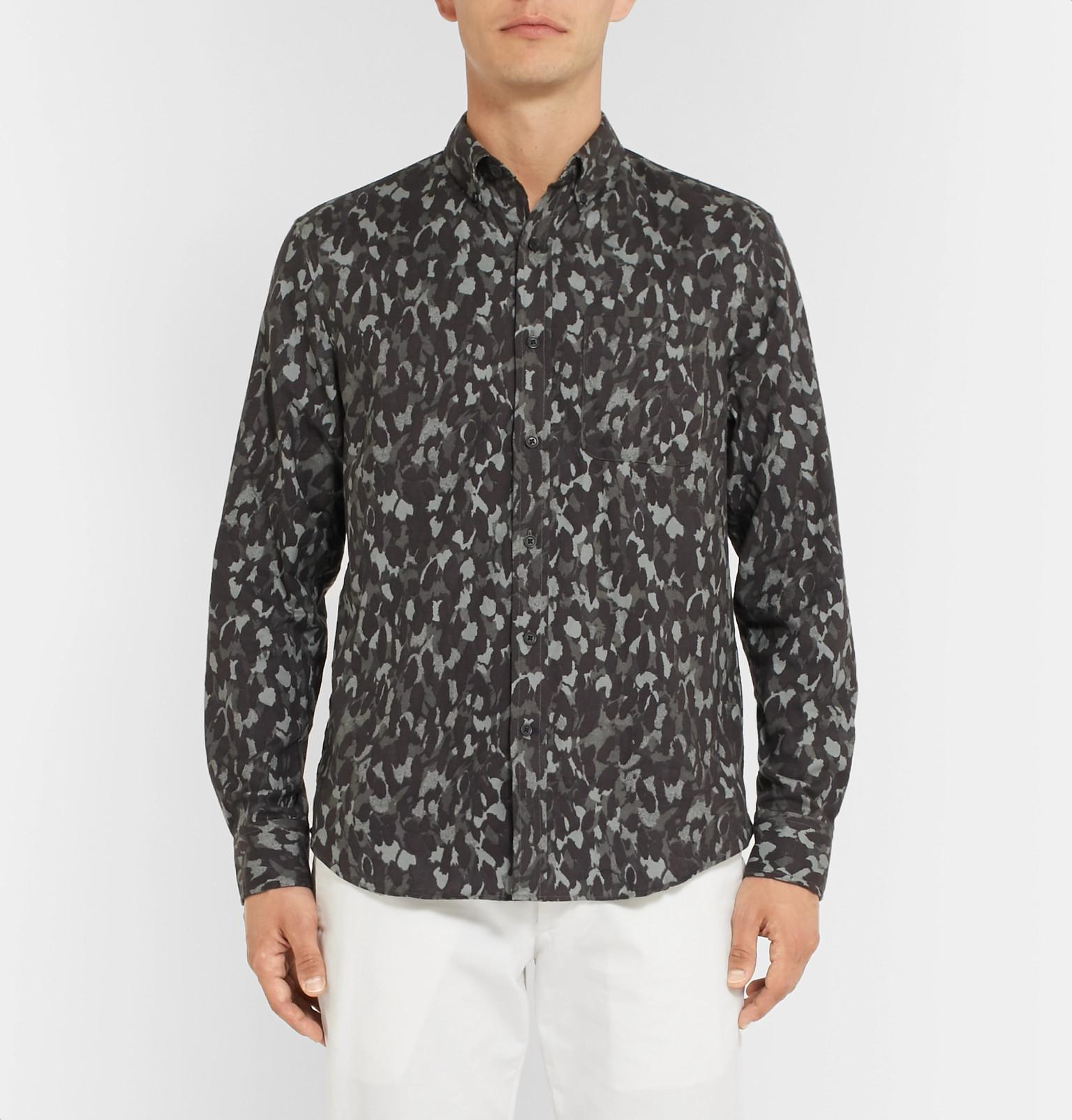 646553949f2 Lyst - Club Monaco Slim-fit Button-down Collar Camouflage-print ...