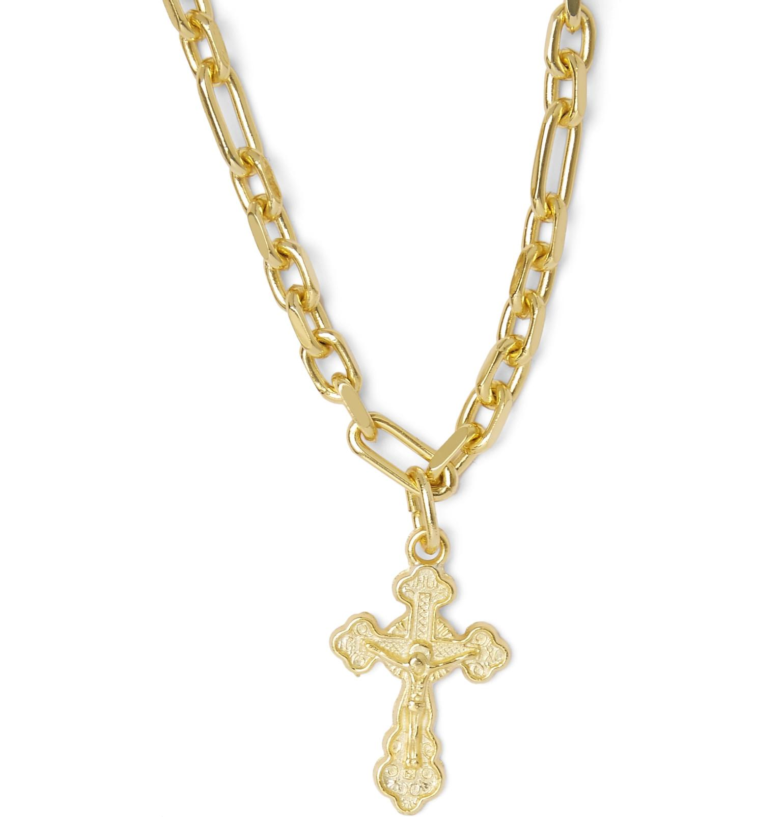 Off-White c/o Virgil Abloh Cross Gold-tone Necklace in Metallic for Men