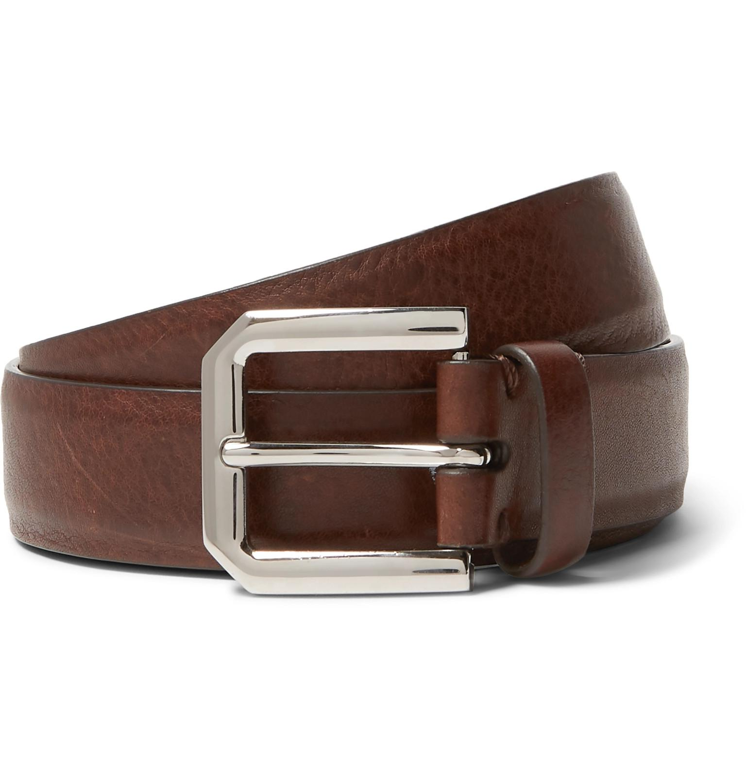 5917fed2b33 Brunello Cucinelli 3cm Brown Leather Belt in Brown for Men - Lyst