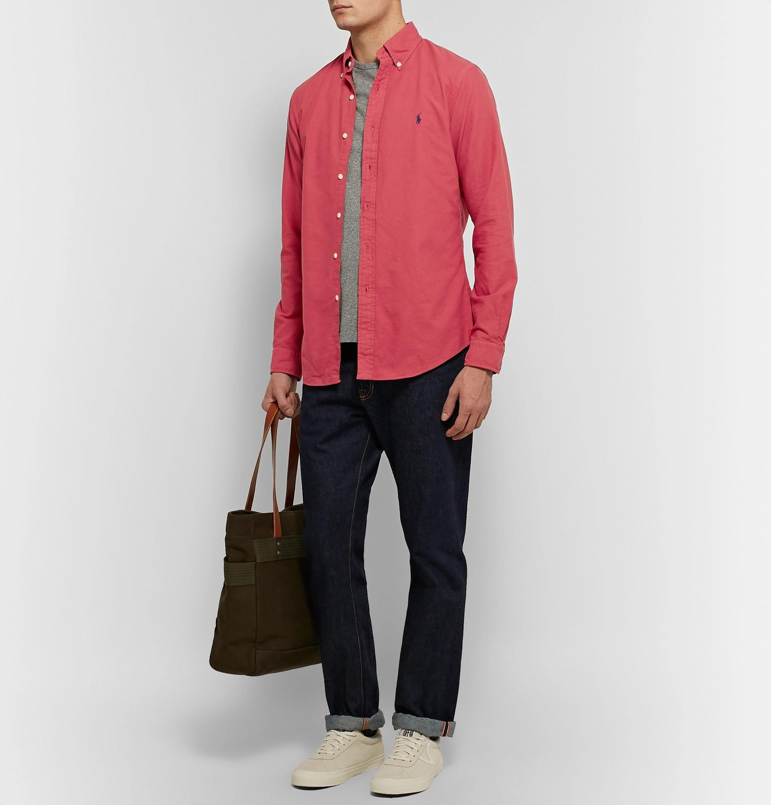 6364abeb3f8 Polo Ralph Lauren - Red Slim-fit Button-down Collar Garment-dyed Cotton.  View fullscreen