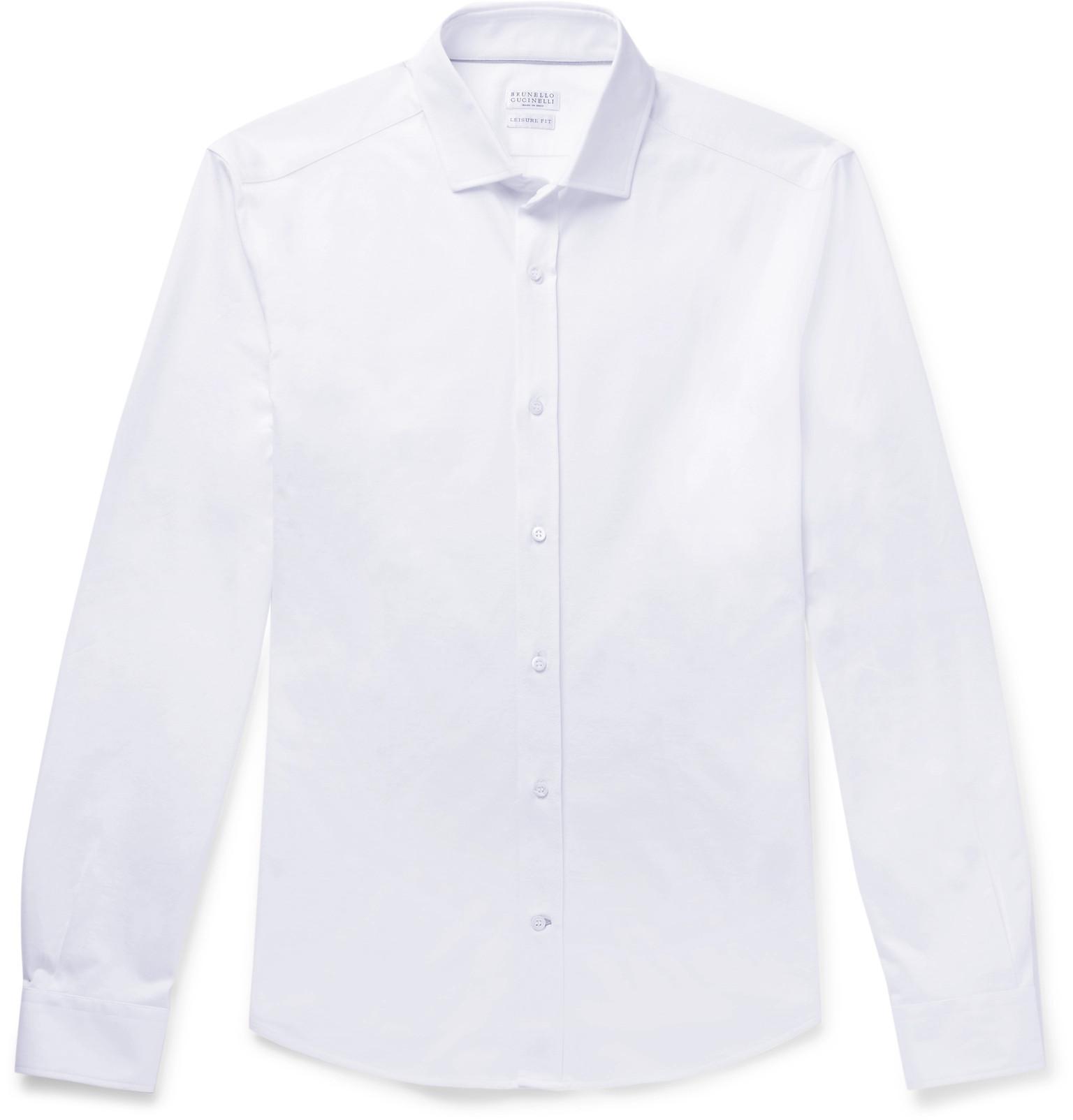 9c50147512 Brunello Cucinelli. Men s White Slim-fit Cutaway-collar Cotton-jersey Shirt