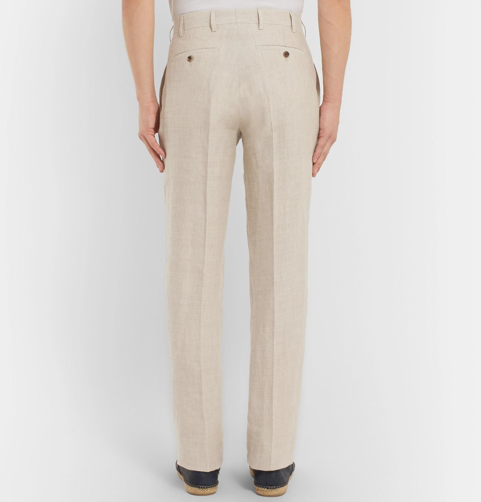 Anderson & Sheppard Linen Trousers in Natural for Men