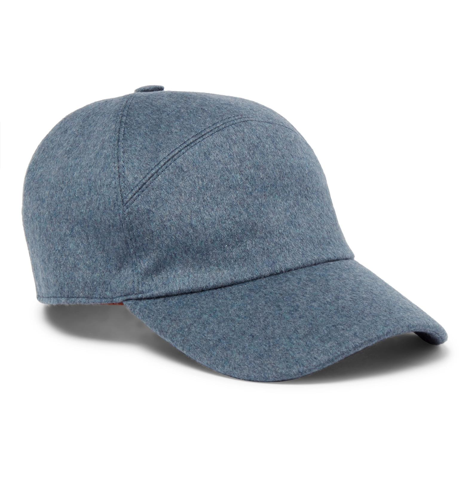 9c3adc29402 Loro Piana Storm System Baby Cashmere Baseball Cap in Blue for Men ...