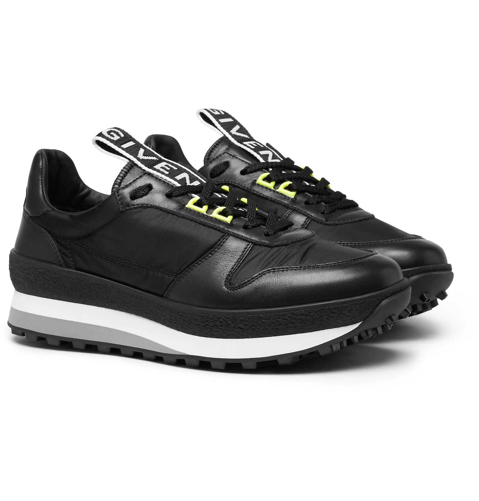 Givenchy Tr3 Leather And Shell Sneakers - Black