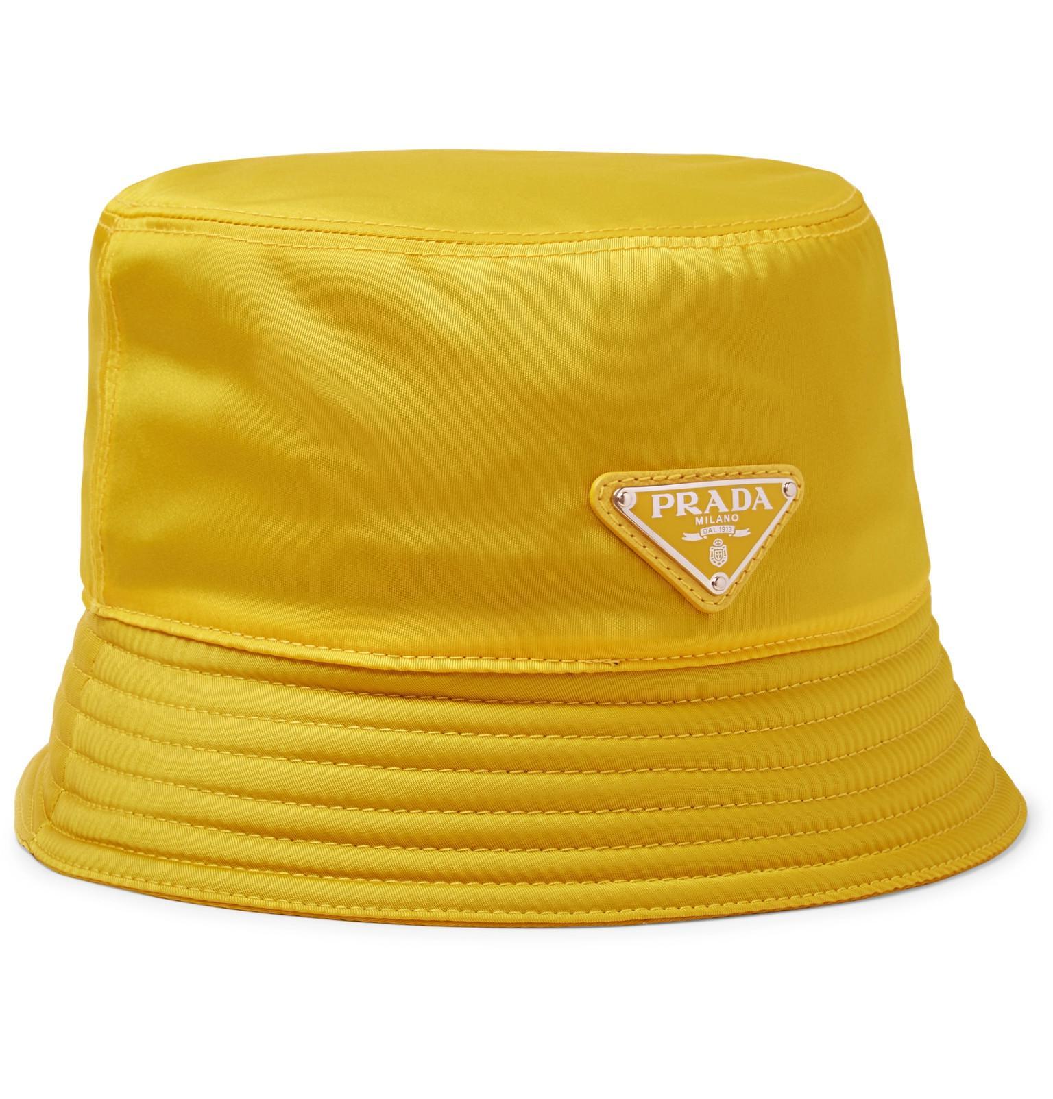 9a37f06a Prada Logo-appliquéd Nylon Bucket Hat in Yellow for Men - Lyst