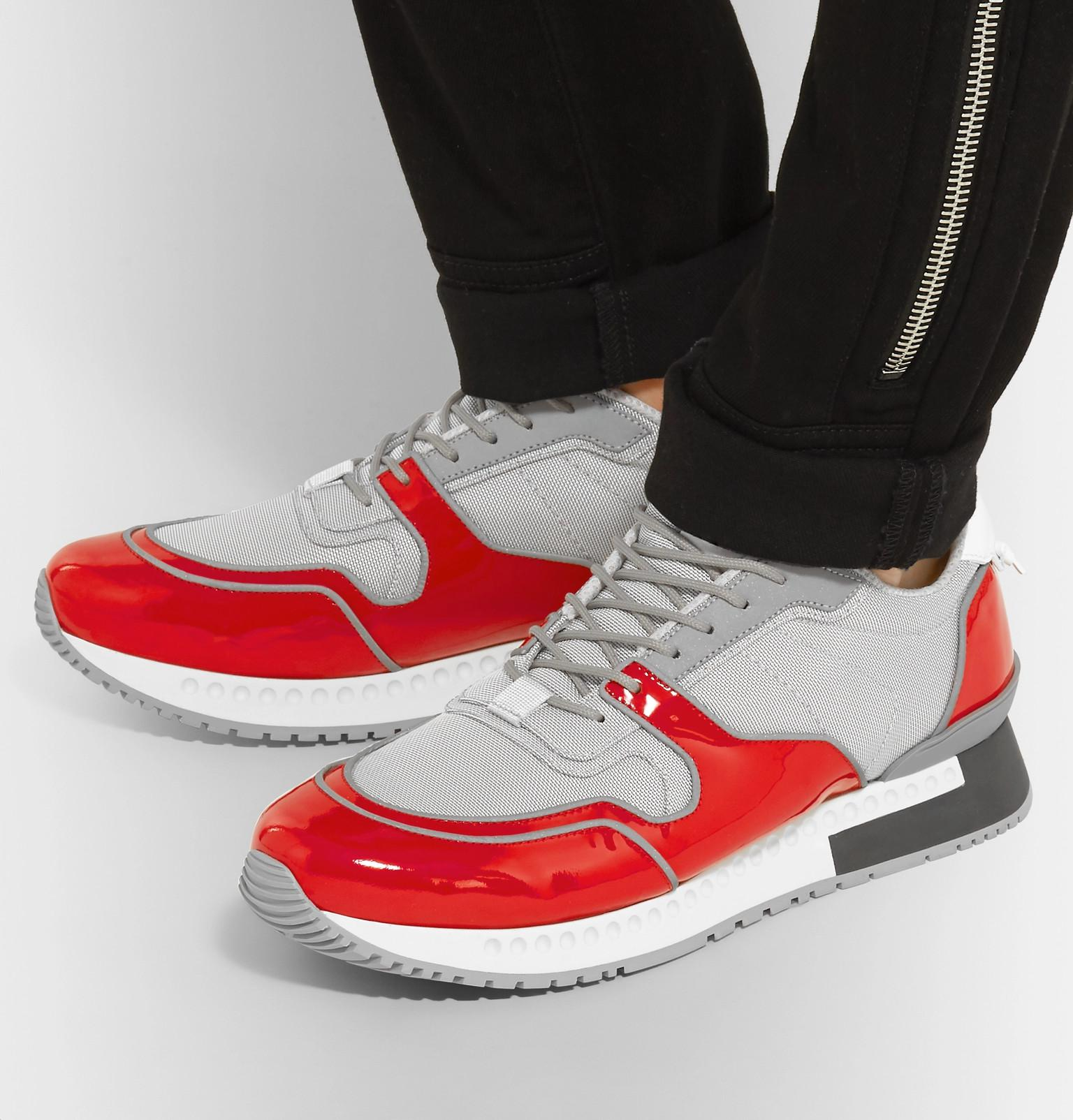 Givenchy Active Mesh And Patent-leather Sneakers in Red for Men