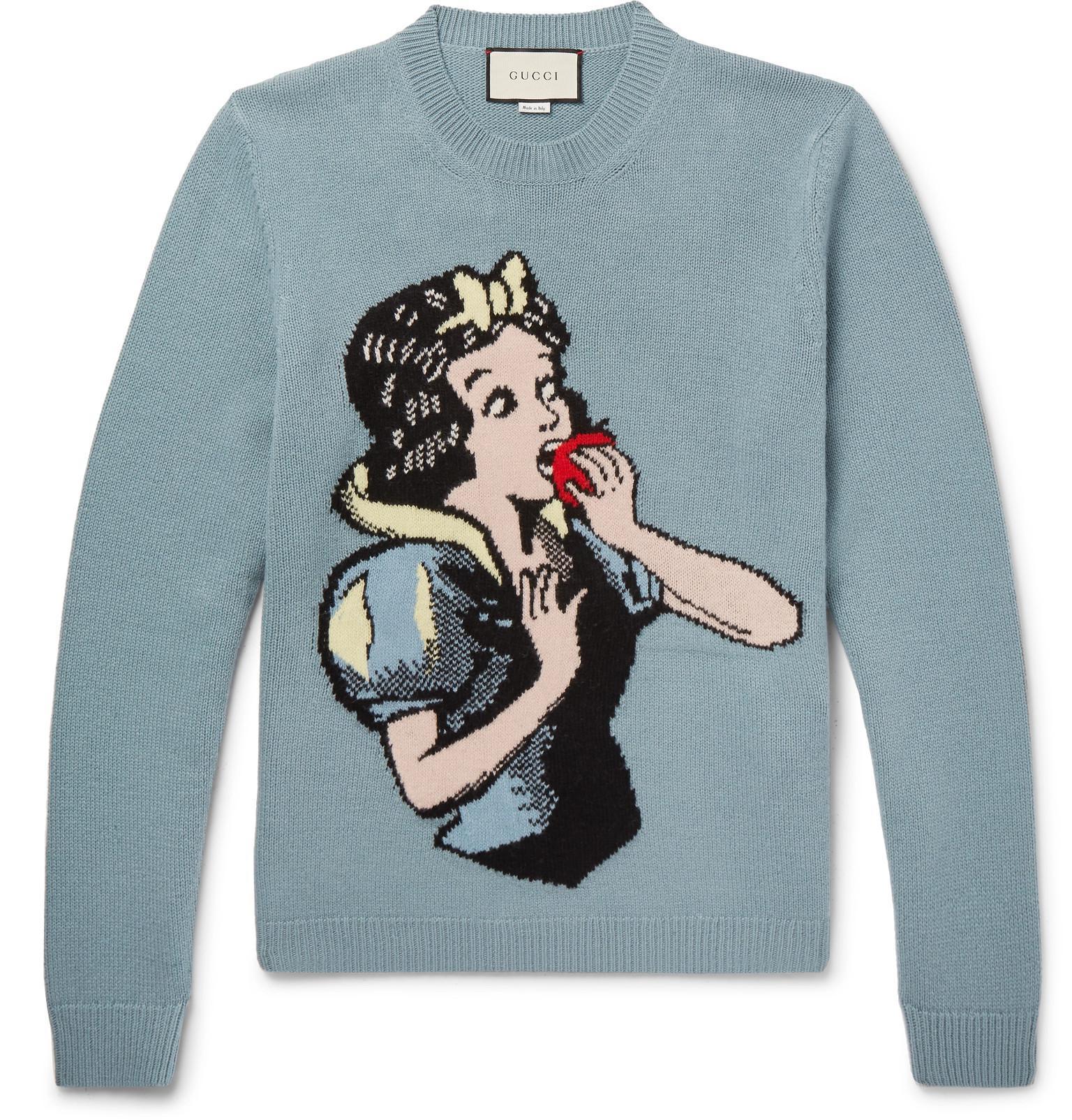 aec997b5c4d25 Gucci - Blue Intarsia Wool Sweater for Men - Lyst. View fullscreen