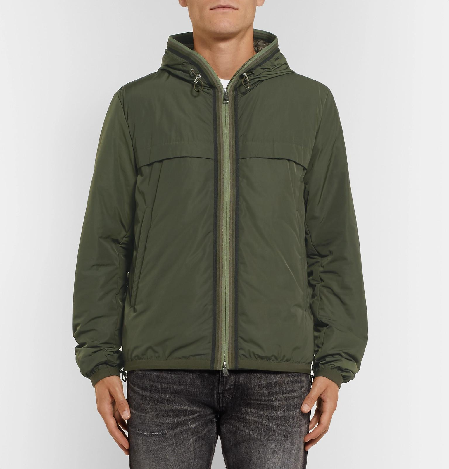 7211d8d55 Moncler Webbing-trimmed Shell Hooded Down Jacket in Green for Men - Lyst