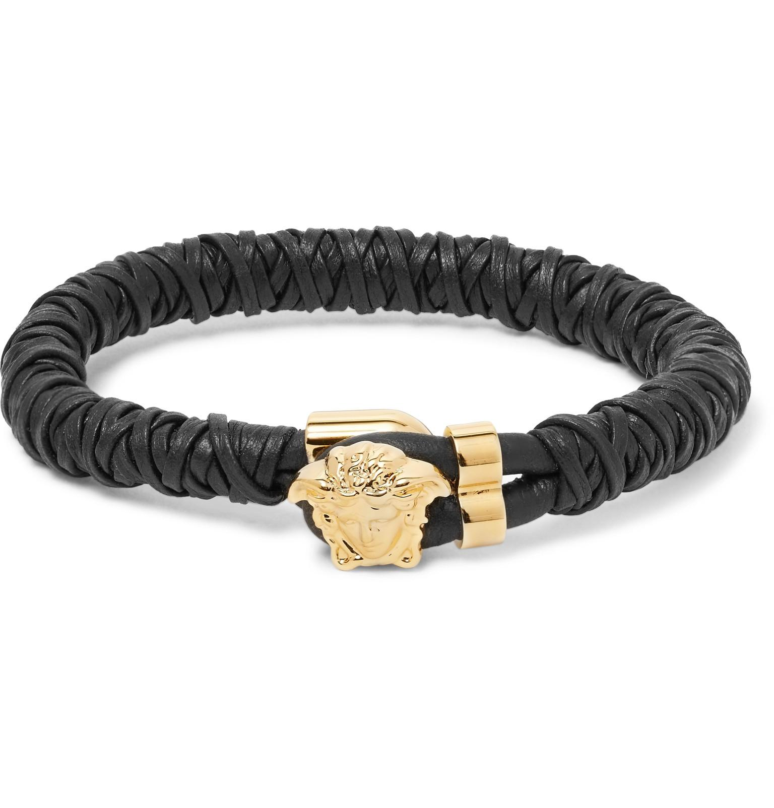 Woven Leather Gold Tone Bracelet