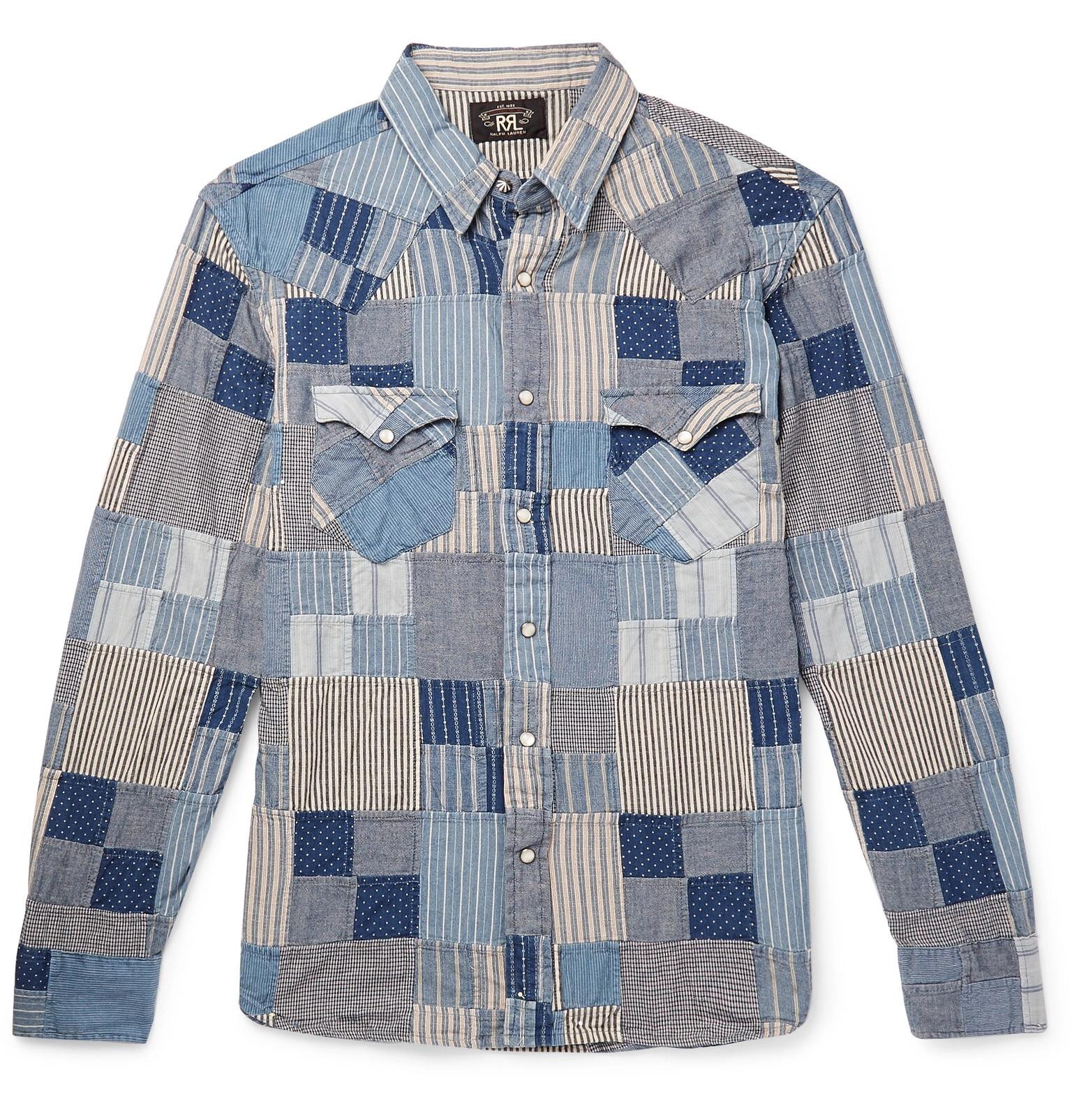 e632e37e RRL Slim-fit Patchwork Cotton And Linen-blend Shirt in Blue for Men ...