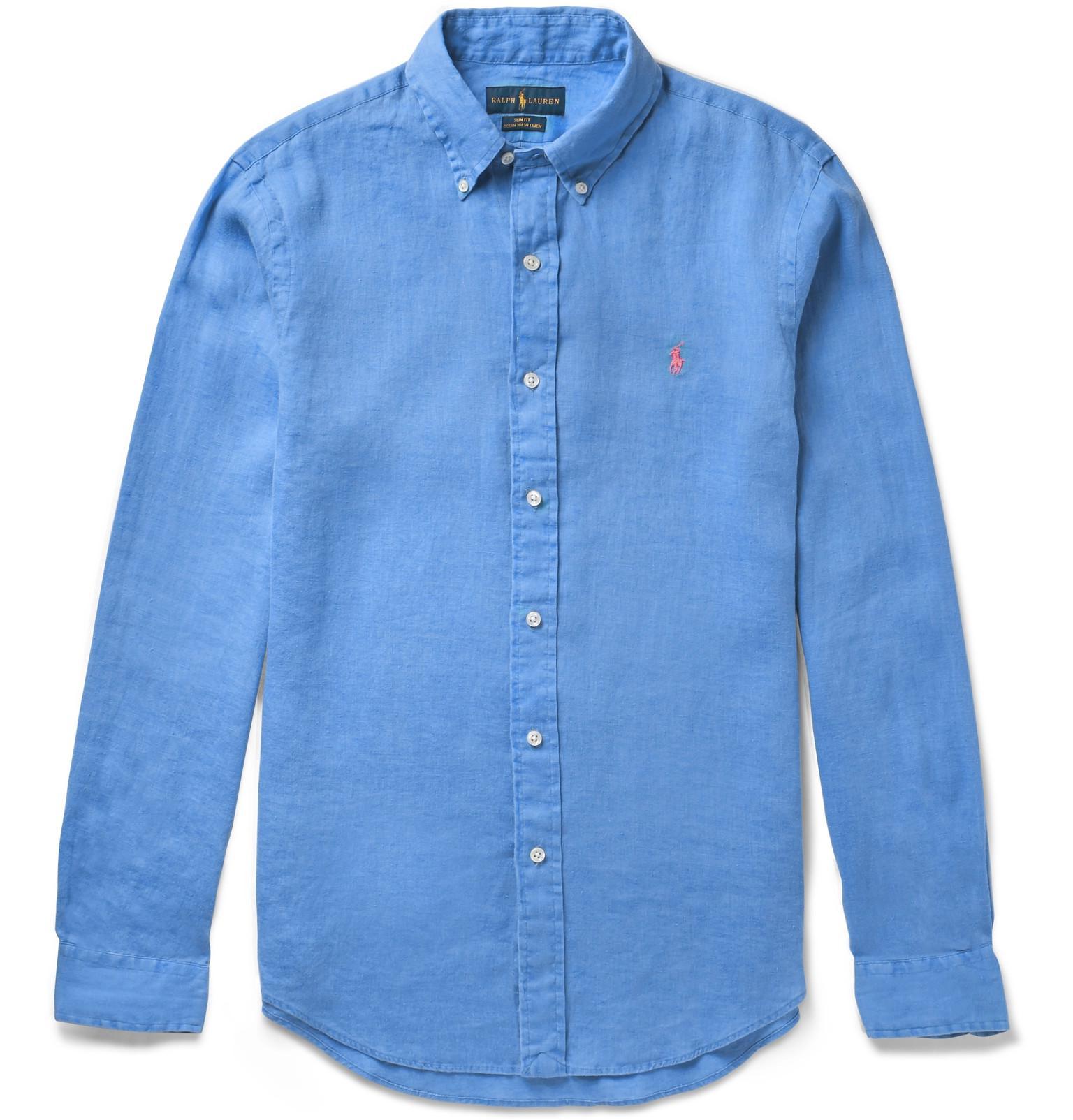 Lyst polo ralph lauren slim fit button down collar linen for Polo ralph lauren casual button down shirts