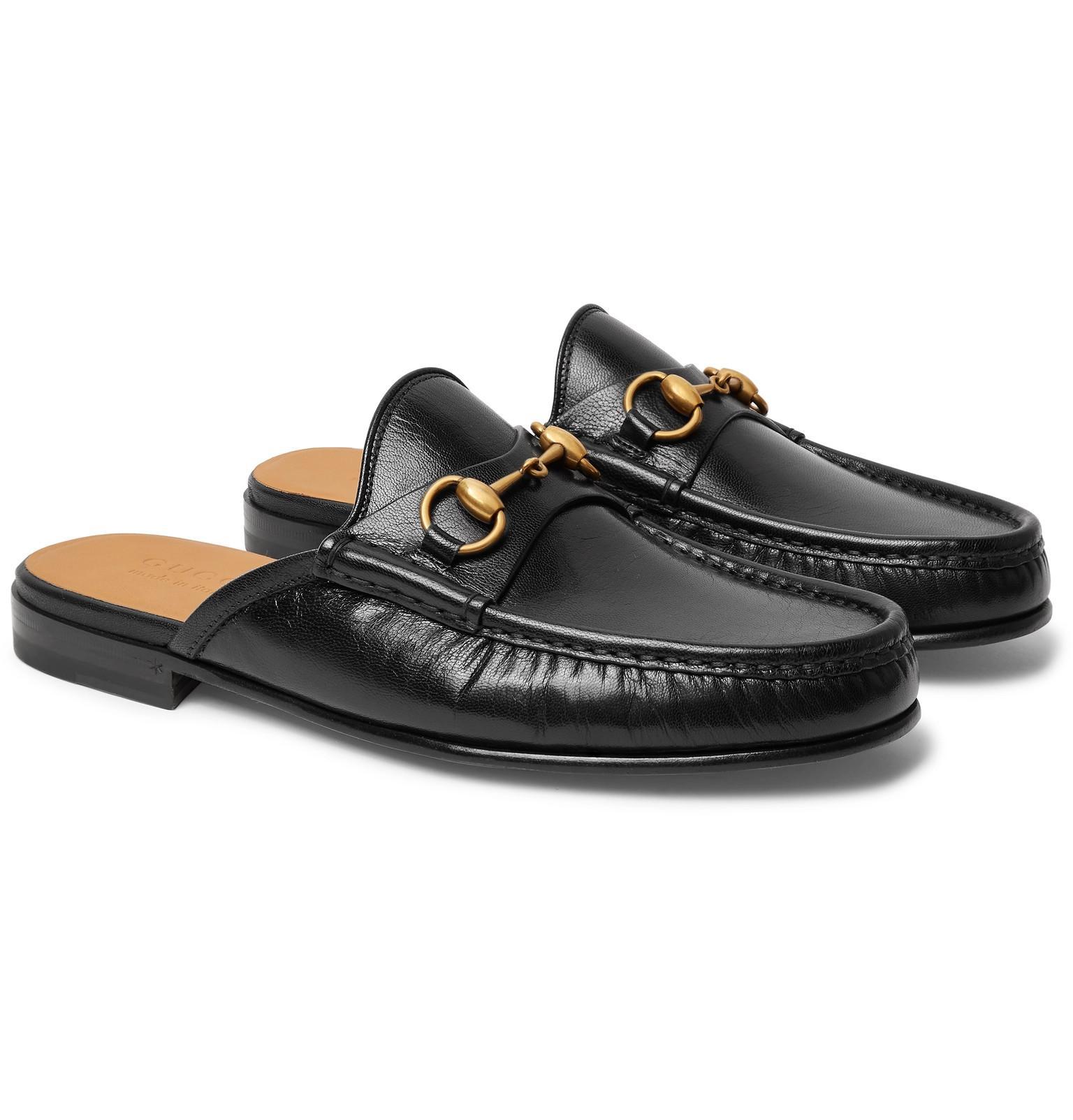 Gucci Leather Horsebit Slipper in Black