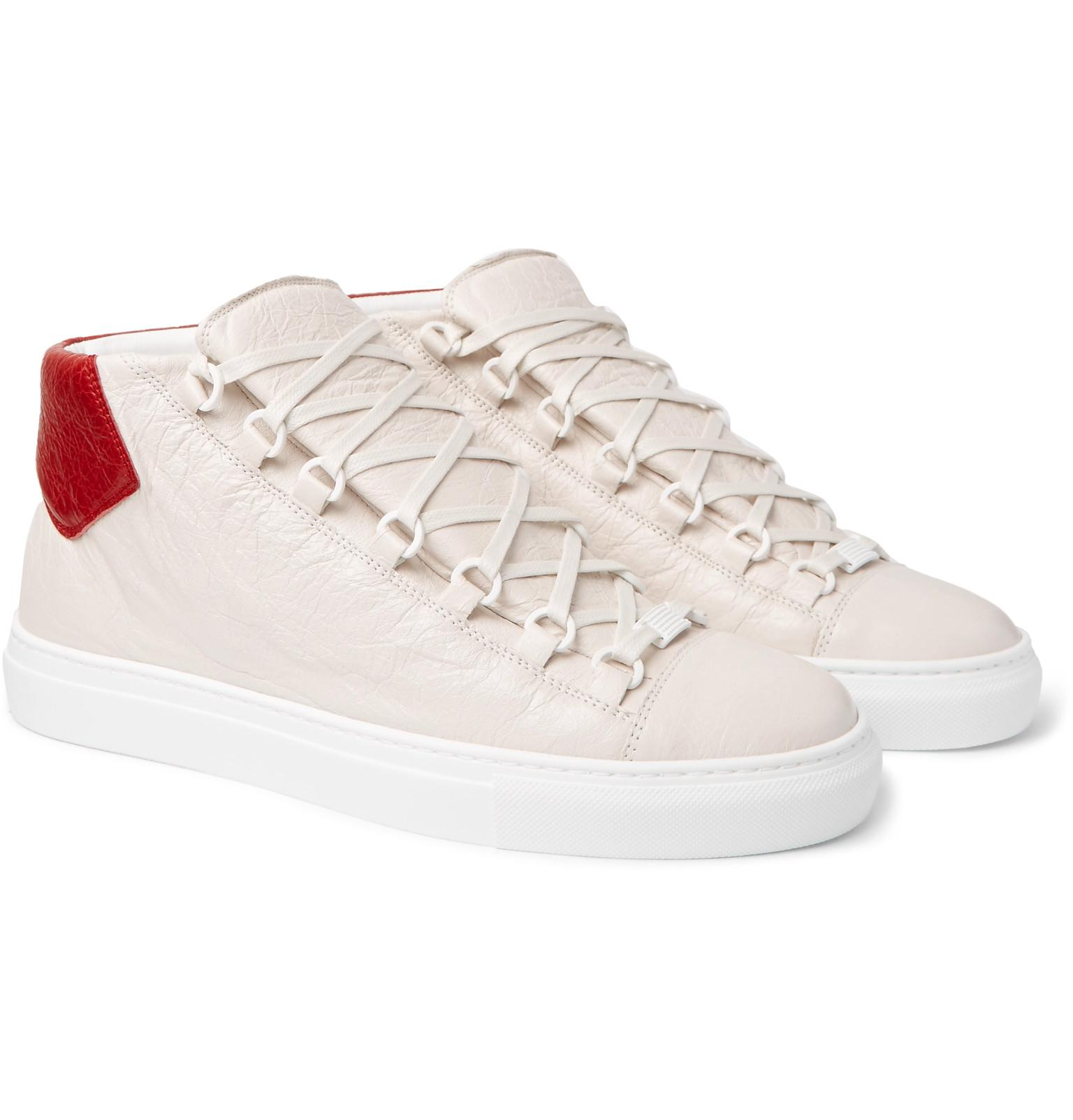 f430ec3ab12f Balenciaga Arena Creased-leather High-top Sneakers in White for Men ...