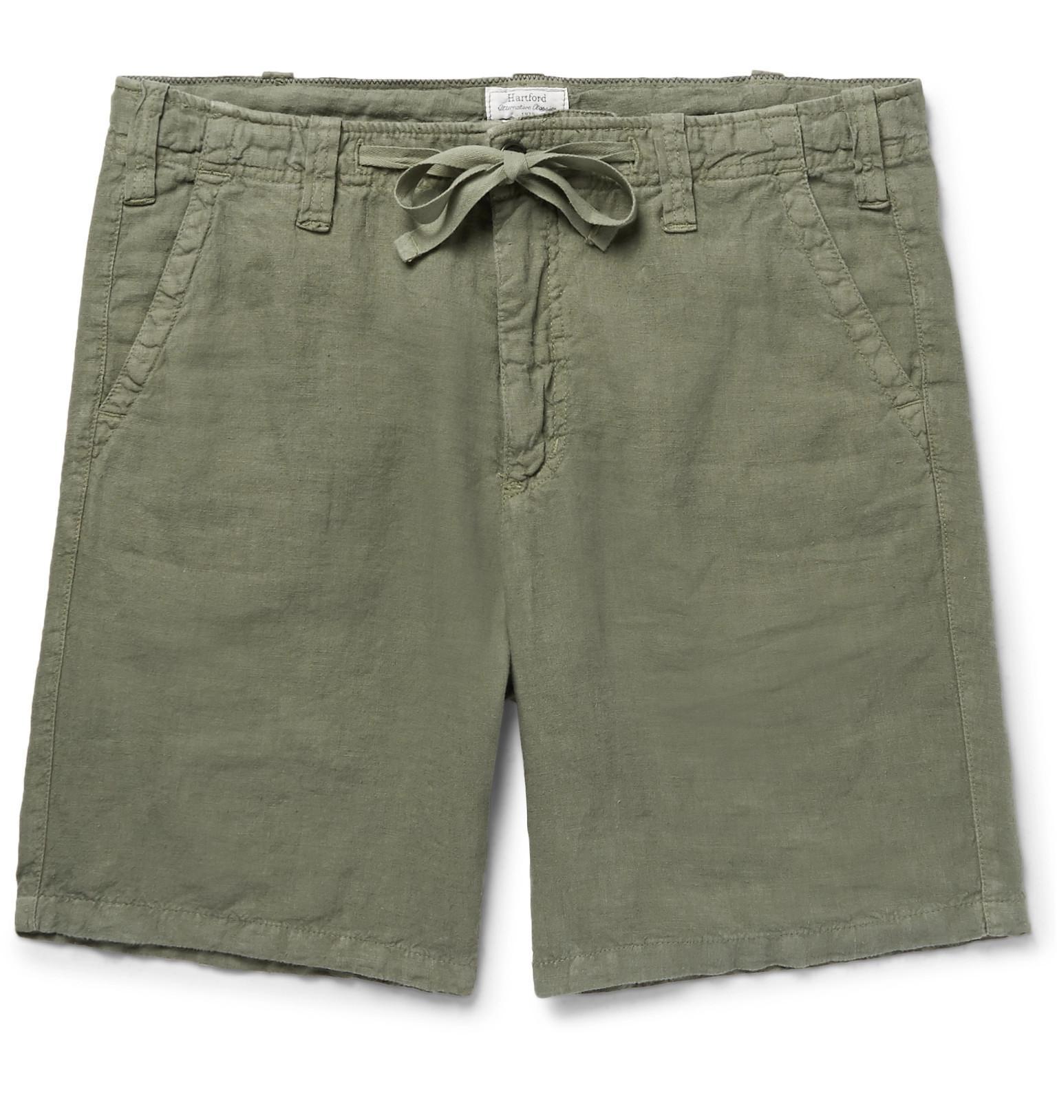Slim-fit Linen-chambray Drawstring Shorts Hartford JEn2Oth