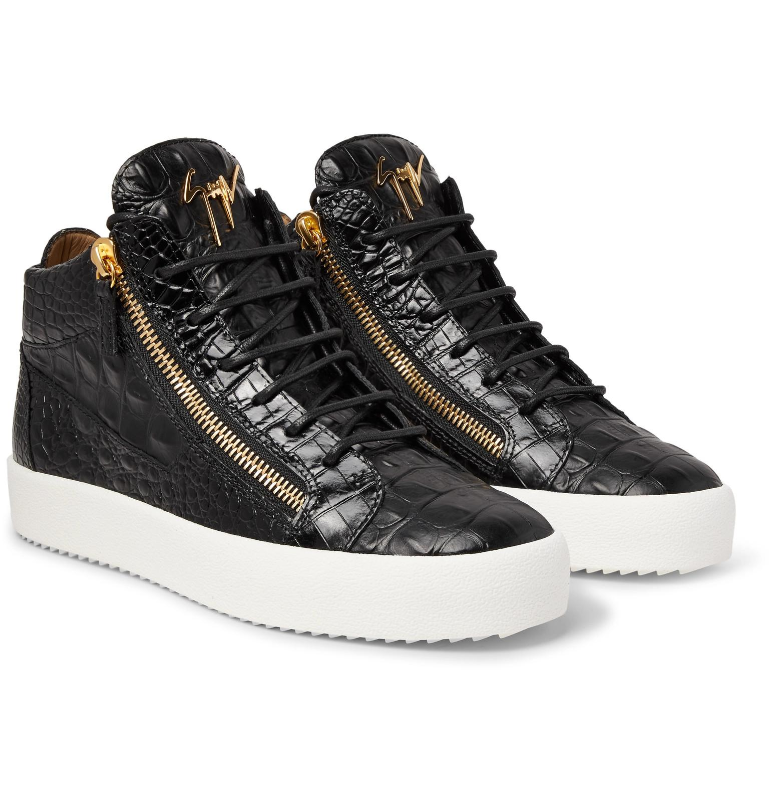 6b28c36497a1a Giuseppe Zanotti Logoball Croc-effect Leather High-top Sneakers in ...