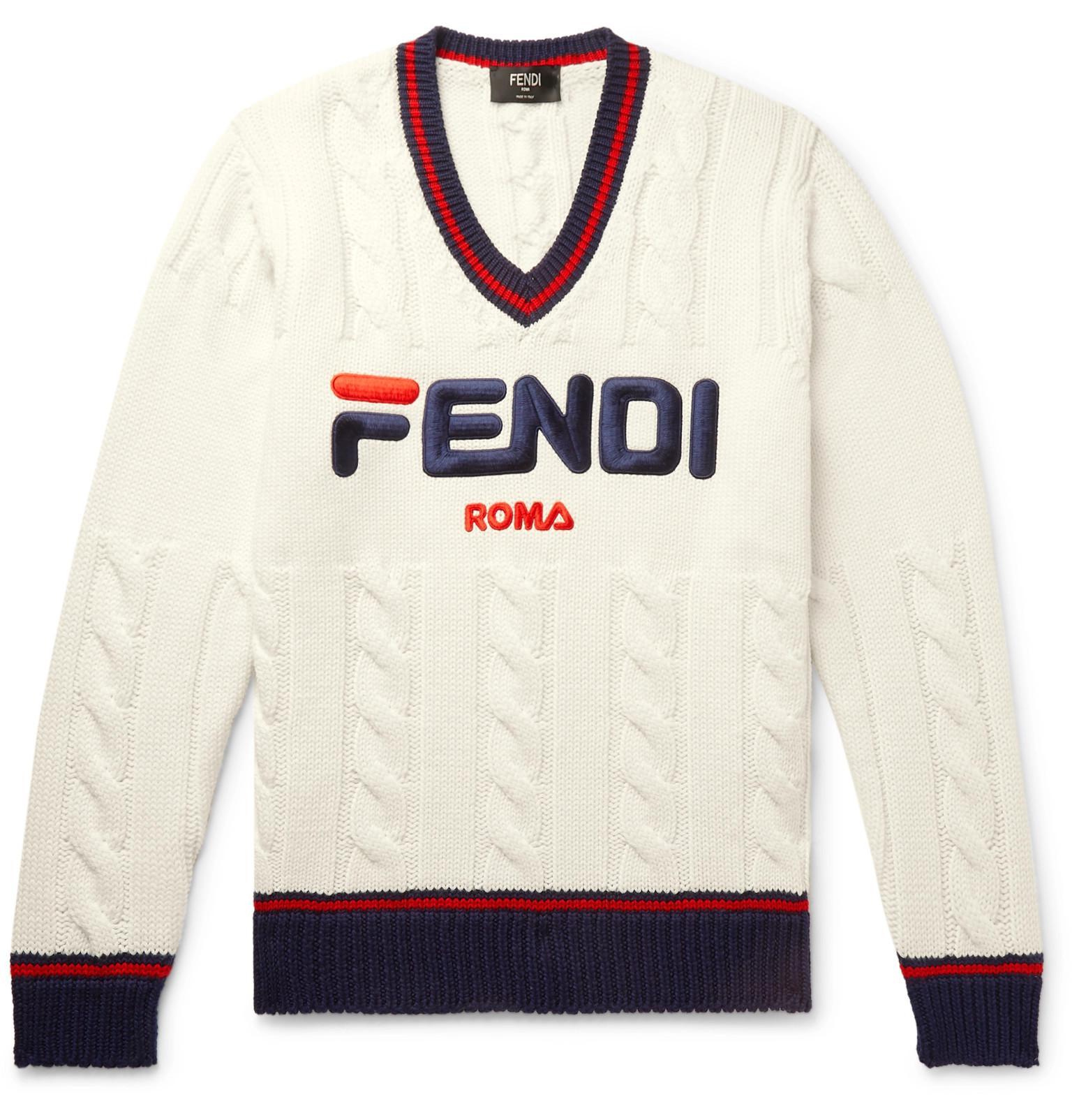 117576e35914 Lyst - Fendi Braided Knit Jumper in White for Men