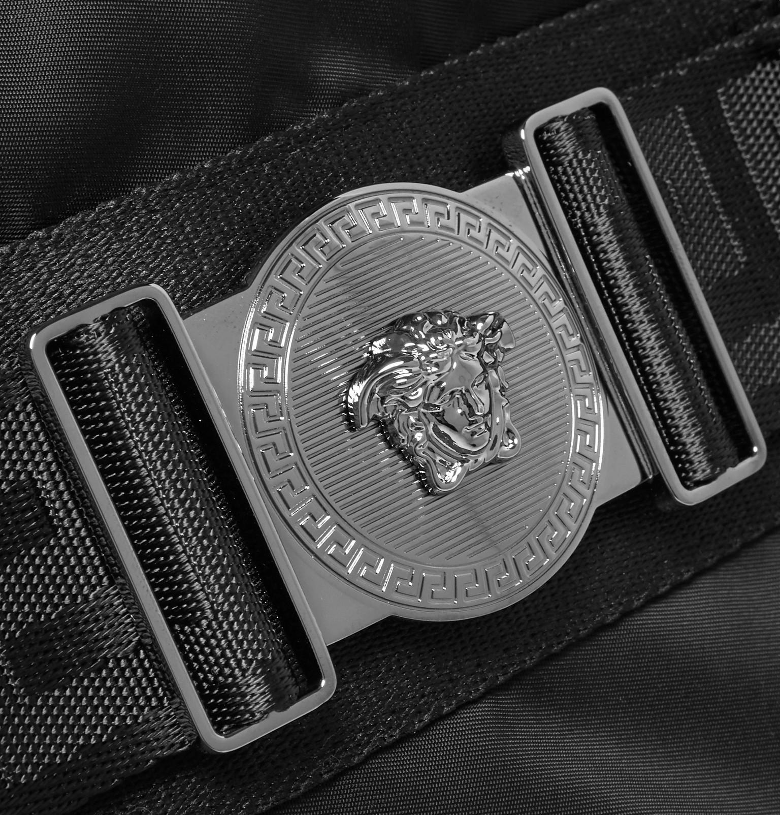 8d2e5b1bb31b Versace - Black Logo-embellished Nylon Duffle Bag for Men - Lyst. View  fullscreen