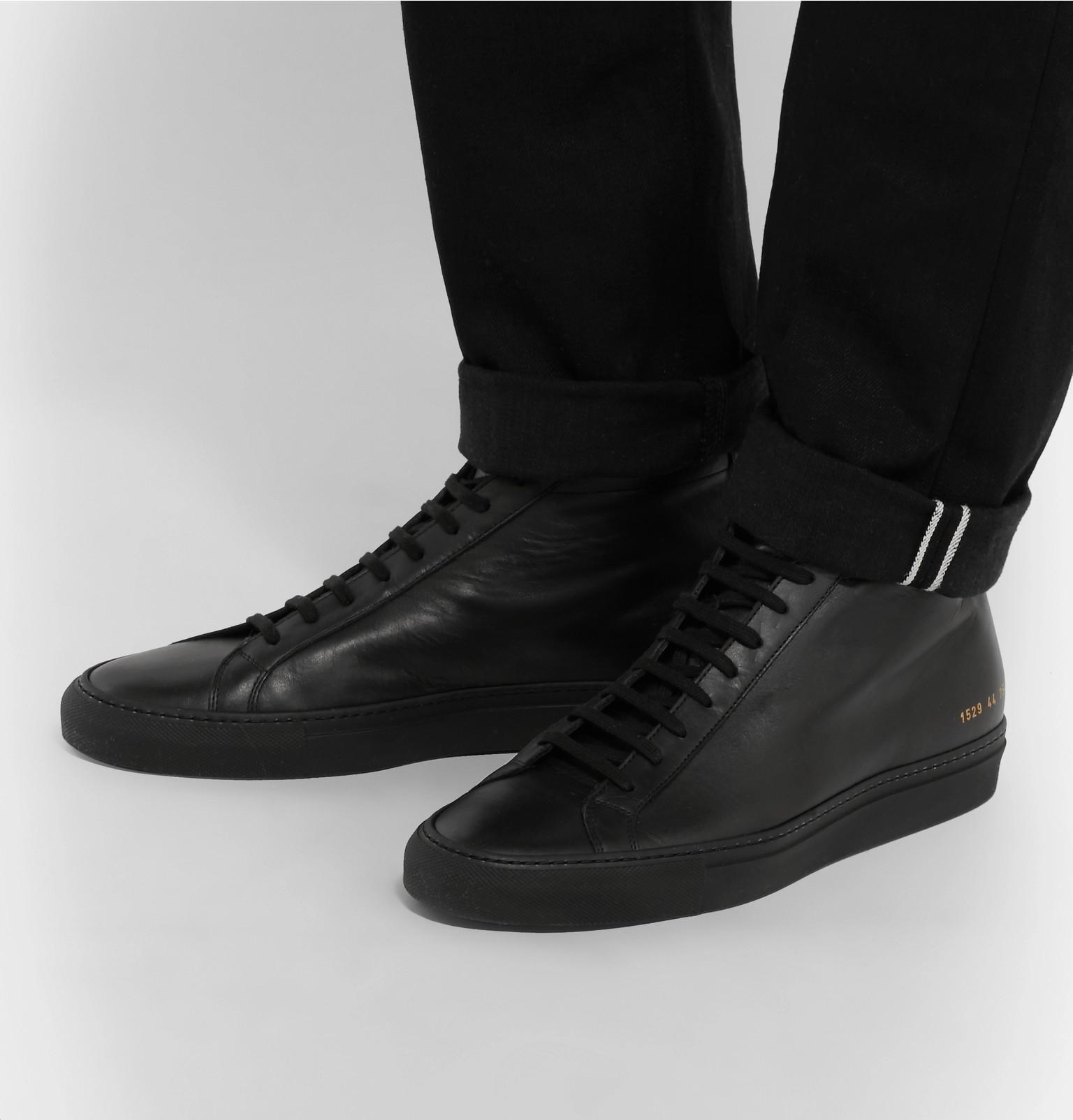 b74f398c7a3 Common Projects - Black Original Achilles Leather High-top Sneakers for Men  - Lyst. View fullscreen