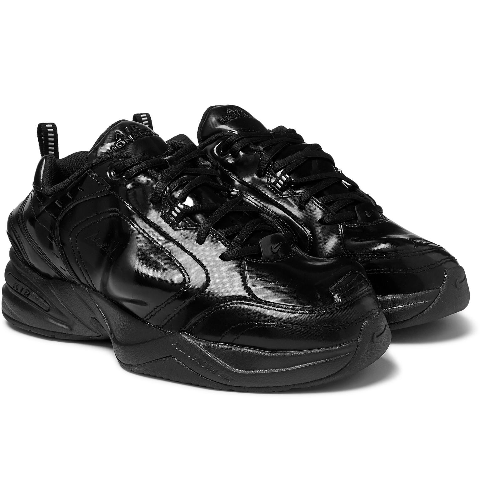 Nike. Men s Black Martine Rose Air Monarch Iv Faux Patent-leather And Pu  Sneakers 6ada480fc