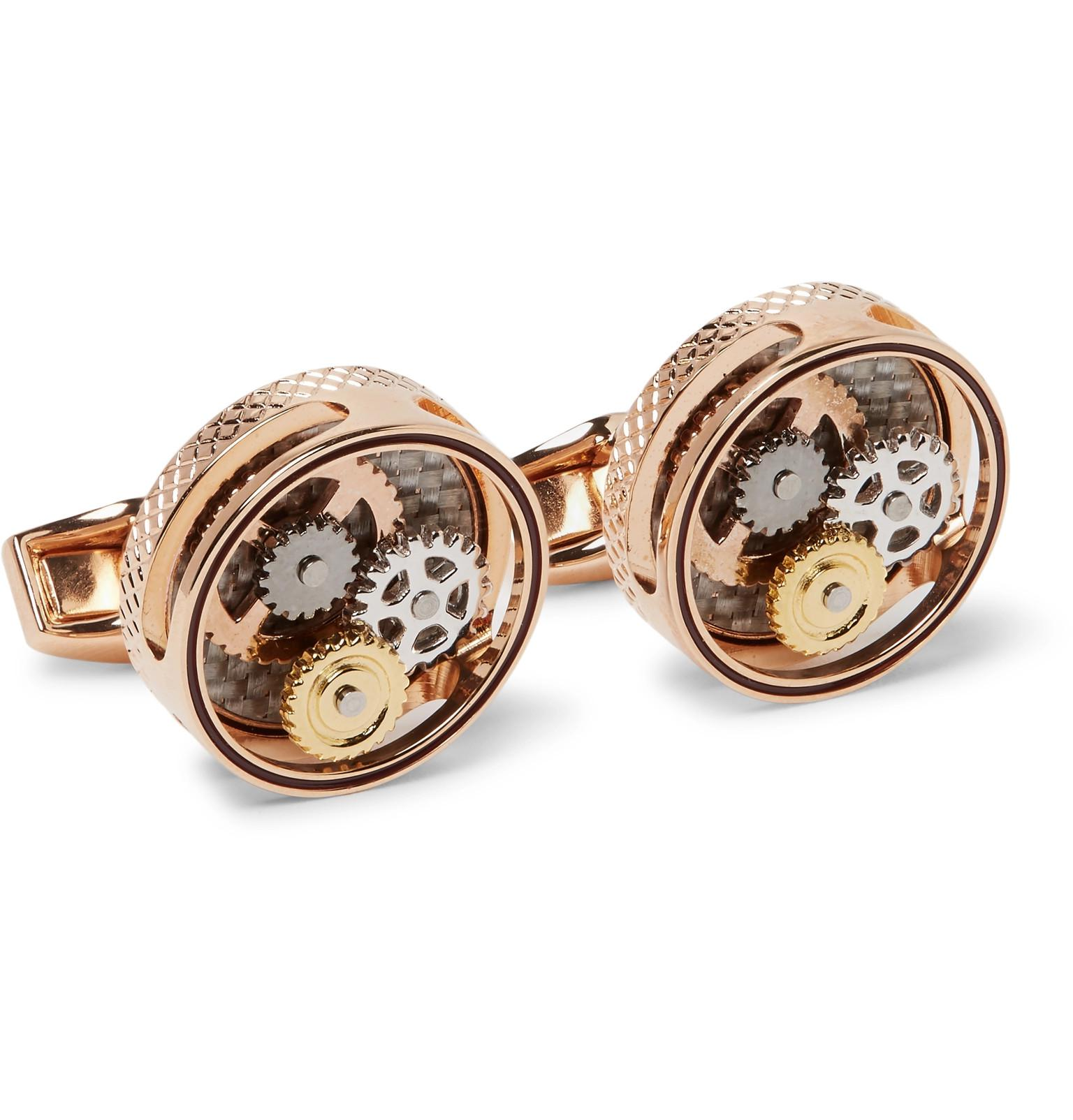 Tateossian Triptych Enamelled Rose Gold-plated Cufflinks - Rose gold YLO0Lo