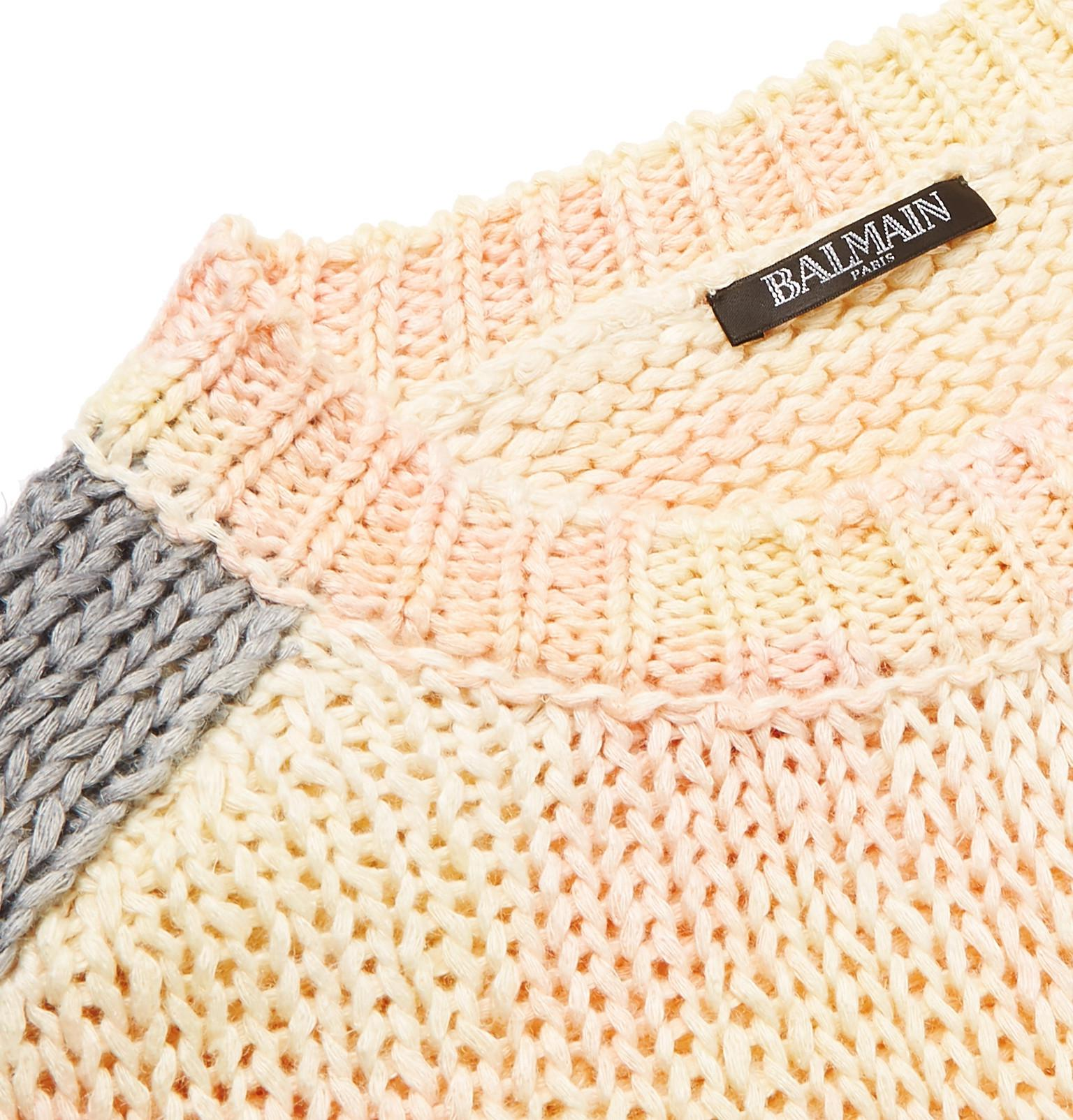 Sweater Silk View Fullscreen Blend And Fit Linen For Slim Dyed Balmain White Tie qzx7TX